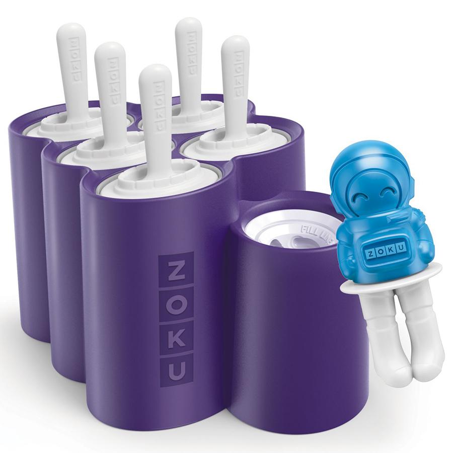 Форма для мороженого Zoku Space 6 шт. ZK124Посуда для приготовления<br>Форма для мороженого Zoku Space 6 шт. ZK124<br><br>Отправляйтесь в увлекательное космическое путешествие вместе с набором для приготовления замороженного сока Ice Pop Mold! Приготовьте лучшие в галактике десерты используя свои любимые комбинации соков йогуртов и сладких добавок.  Благодаря инновационной системе вам не придется долгое время томиться в ожидании ведь аппарат справится со своей работой всего за несколько минут! Просто расположите свой Pop Maker в морозильной камере за 24 часа до использования затем вставьте палочки Pop Sticks в специальные отверстия и залейте охлажденный сок в формы. И уже через 7-9 минут вы будете наслаждаться вкуснейшим а главное натуральным лакомством. Устройство работает без электричества и позволяет одновременно приготовить 6 порций десерта на палочках.<br>