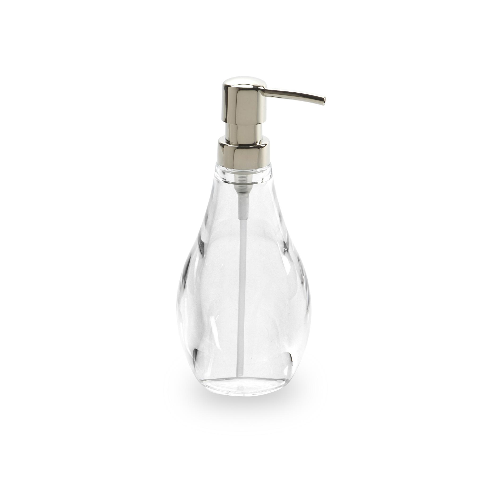 Диспенсер для жидкого мыла Umbra droplet прозрачный 020163-165Диспенсеры<br>Диспенсер для жидкого мыла Umbra droplet прозрачный 020163-165<br><br>Мыло душистое, полотенце пушистое - если мыть руки, то с этим слоганом. Потому что приятно пахнущее мыло, например, ванильное или земляничное, поднимает настроение. А если оно внутри красивого диспенсера, который поможет отмерить нужное количество, это вдвойне приятно. Те, кто покупает жидкое мыло, знают, что очень часто оно продается в некрасивых упаковках или очень больших бутылках, которые совершенно неудобно ставить на раковину. Проблема решена вот с таким лаконичным симпатичным диспенсером. Теперь вы не забудете вымыть руки перед едой! А благодаря прозрачным стенкам, всегда видно, когда стоит пополнить резервуар. p.s. Важная подсказка: диспенсер также можно использовать на кухне для моющего средства, получается очень экономно.<br>Официальный продавец<br>