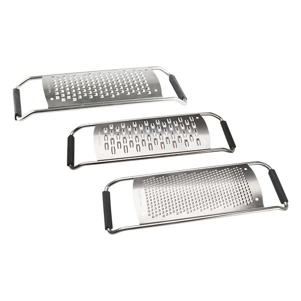 Набор из 3-х терок RONDELL Comfort RD-430Кухонные аксессуары Rondell<br>Терки с отверстиями для мелкого, среднего и крупного измельчения.<br>Не подходит для использования в посудомоечных машинах.<br>
