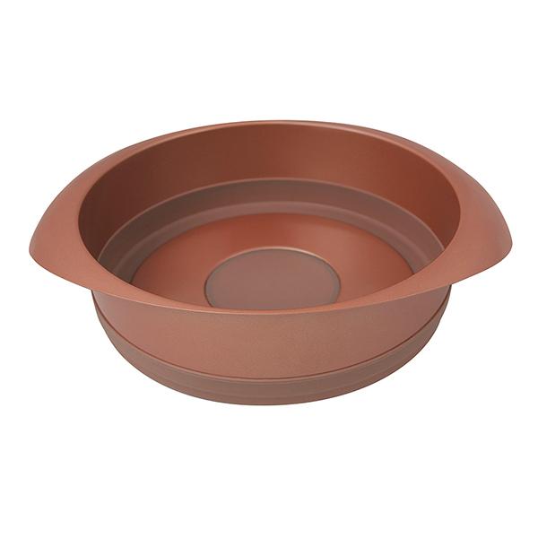 Форма для выпечки Rondell Karamelle 22 см RDF-447Формы для выпечки Rondell<br>Форма для выпечки Rondell Karamelle 22 см RDF-447<br><br>Размер:  22 см.<br>Углеродистая сталь - 0.8 мм. и силикон. Внутреннее антипригарным покрытием Quantum от Whitford. Внешнее антипригарное покрытие для легкого ухода. Силиконовые элементы, облегчающие извлечение выпечки из формы. Упаковка - подарочная коробка. Буклет с рецептами. Подходит для использования в посудомоечных машинах.<br>