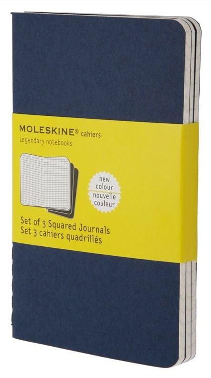 Набор 3 блокнота Moleskine Cahier Journal Pocket, цвет синий индиго, в клеткуMOLESKINE<br><br>
