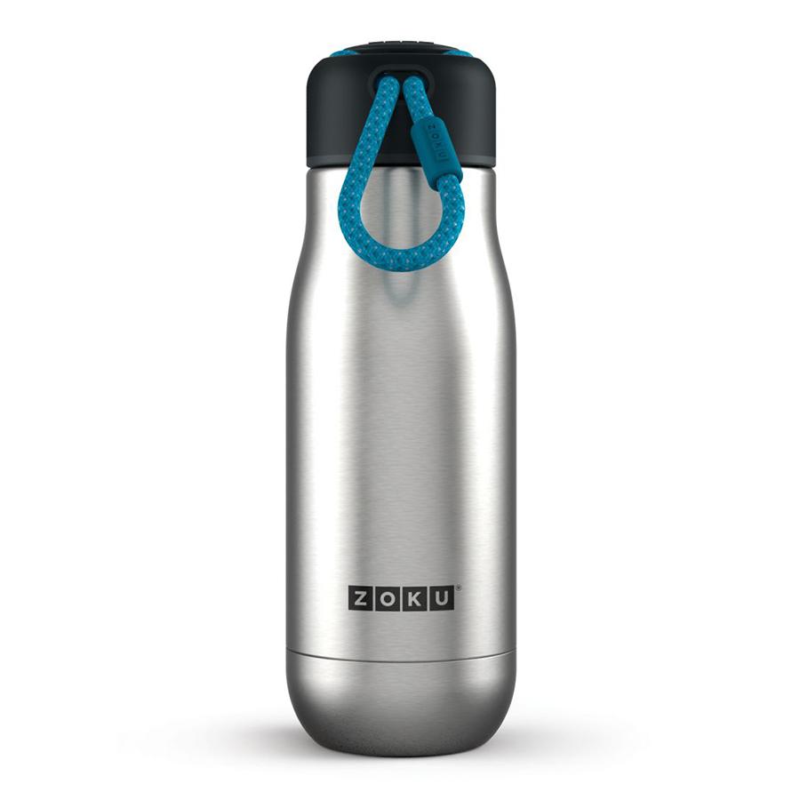 Термос Zoku 350 мл металлик ZK141-SSТермосы<br>Термос Zoku 350 мл металлик ZK141-SS<br><br><br>Двойные вакуумные стенки Вакуум и толстые стенки из нержавеющей стали поддерживают температуру горячих напитков до 10, а холодных – до 30 часов, поэтому любимые напитки всегда будут доступны в течение дня. При этом бутылку можно спокойно держать в руках без риска обжечься.   Гигиеничное горлышко Узкое горлышко создано специально для питья, вам не потребуются дополнительные стаканы или емкости. Гладкая полированная поверхность легко очищается за считанные секунды и не накапливает на себе бактерии и грязь благодаря тому, что резьба для крышки спрятана внутри. Даже если вы находитесь на активном отдыхе или занимаетесь спортом, ваша бутылка всегда остается чистой и гигиеничной.  Паракорд для переноски Шнур на крышке бутылки называется «паракордом» и позволяет вам брать её с собой, куда бы вы ни направлялись: держите её в руках, несите за ремешок или же прикрепите к снаряжению. Шнур легко вынимается при необходимости, просто потяните защитную крышку вверх.   Нержавеющая сталь  Высокое качество нержавеющей стали 18/8 делает термобутылку особенно прочной: она устойчива к коррозии, не разрушается и не впитывает запахи. Бутылка будет служить долго и не потребует замены деталей. Используемая сталь полностью пригодна для пищевых продуктов, не содержит фталатов и бисфенола-А.   Открывается одним движением Чтобы закрутить или открутить крышку, достаточно всего одного оборота, что очень удобно, если вы на ходу или за рулем. Крышка с силиконовой вставкой полностью герметична, поэтому бутылку можно смело убрать в рюкзак, чемодан или сумку, не боясь, что ее содержимое прольется.  Стильный дизайн Привлекательный внешний вид, яркие цвета и качественные материалы делают эту термобутылку идеальным компаньоном для активных и следящих за своим здоровьем людей. Она подчеркнет ваш имидж и добавит ему ярких акцентов. Берите её с собой на прогулки, в спортзал и в любое путешествие, не боясь, что ваш