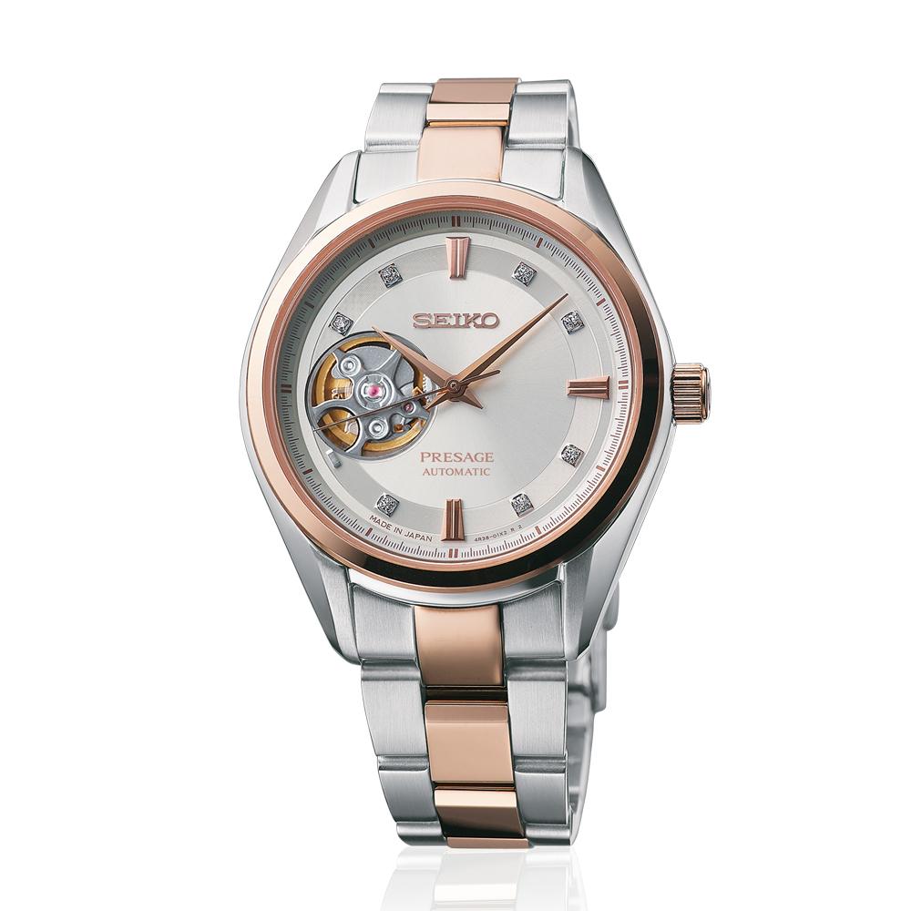 Наручные часы SeikoSeiko Presage<br>Seiko Presage SSA810J1 - женские механические часы. Корпус этих часов среднего размера (35 мм.) и выполнен из нержавеющей стали и нержавеющей стали с золотом. Модель Presage SSA810J1 имеет сапфировое стекло, сталь;сталь-золото металлического/золотого цвета, серебристый циферблат. Водоустойчивость: 100 метров. Дополнительные функции и особенности: бриллианты.<br>