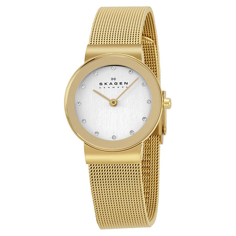 Skagen 358SGGD - женские наручные часы из коллекции MeshSkagen<br><br><br>Бренд: Skagen<br>Модель: Skagen 358SGGD<br>Артикул: 358SGGD<br>Вариант артикула: None<br>Коллекция: Mesh<br>Подколлекция: None<br>Страна: Дания<br>Пол: женские<br>Тип механизма: кварцевые<br>Механизм: None<br>Количество камней: None<br>Автоподзавод: None<br>Источник энергии: от батарейки<br>Срок службы элемента питания: None<br>Дисплей: стрелки<br>Цифры: отсутствуют<br>Водозащита: WR 30<br>Противоударные: None<br>Материал корпуса: нерж. сталь, покрытие: позолота<br>Материал браслета: не указан, покрытие: позолота<br>Материал безеля: None<br>Стекло: минеральное<br>Антибликовое покрытие: None<br>Цвет корпуса: None<br>Цвет браслета: None<br>Цвет циферблата: None<br>Цвет безеля: None<br>Размеры: 26x26x5 мм<br>Диаметр: None<br>Диаметр корпуса: None<br>Толщина: None<br>Ширина ремешка: None<br>Вес: None<br>Спорт-функции: None<br>Подсветка: None<br>Вставка: бриллиант<br>Отображение даты: None<br>Хронограф: None<br>Таймер: None<br>Термометр: None<br>Хронометр: None<br>GPS: None<br>Радиосинхронизация: None<br>Барометр: None<br>Скелетон: None<br>Дополнительная информация: позолота 5 мкм<br>Дополнительные функции: None