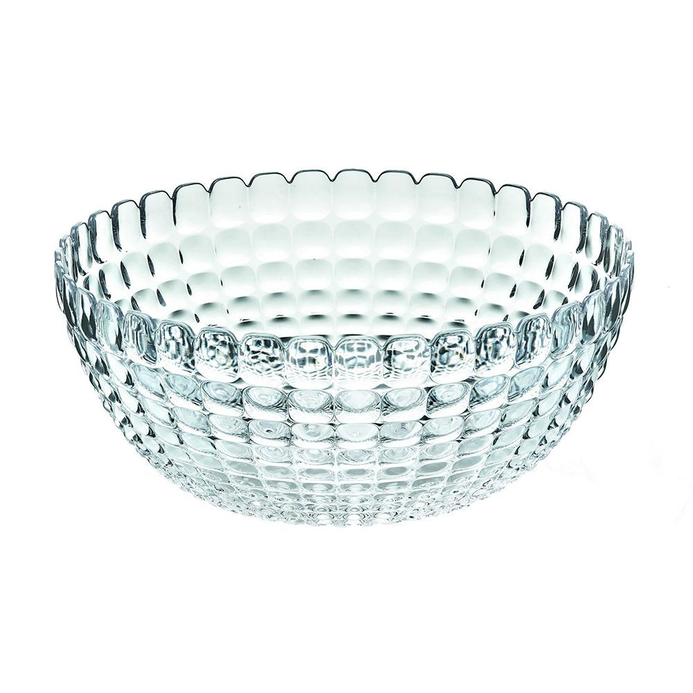 Салатница Guzzini Tiffany L прозрачная 21382500Посуда Guzzini (Италия)<br>Салатница Guzzini Tiffany L прозрачная 21382500<br><br>Элегантная салатница Tiffany станет настоящим украшением любого стола. Её можно использовать не только для салатов, но так же для подачи фруктов, выпечки и различных угощений. Идеально подходит для сервировки на свежем воздухе - рельефная форма в сочетании с прозрачным материалом заставляет поверхность сверкать и переливаться на свету. Органическое стекло, из которого изготовлена салатница, характеризуется легкостью и устойчивостью к износу.  Объем - 3 л. Не содержит вредных примесей и бисфенола-А. Можно мыть в посудомоечной машине.<br>Официальный продавец<br>