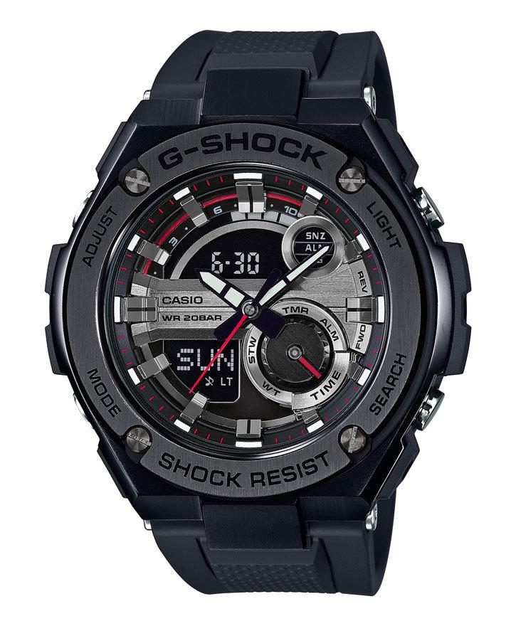 Casio G-SHOCK GST-210B-1A / GST-210B-1AER - мужские наручные часыCasio<br><br><br>Бренд: Casio<br>Модель: Casio GST-210B-1A<br>Артикул: GST-210B-1A<br>Вариант артикула: GST-210B-1AER<br>Коллекция: G-SHOCK<br>Подколлекция: None<br>Страна: Япония<br>Пол: мужские<br>Тип механизма: кварцевые<br>Механизм: None<br>Количество камней: None<br>Автоподзавод: None<br>Источник энергии: от батарейки<br>Срок службы элемента питания: None<br>Дисплей: стрелки + цифры<br>Цифры: None<br>Водозащита: WR 200<br>Противоударные: есть<br>Материал корпуса: нерж. сталь + пластик<br>Материал браслета: каучук<br>Материал безеля: None<br>Стекло: минеральное<br>Антибликовое покрытие: None<br>Цвет корпуса: None<br>Цвет браслета: None<br>Цвет циферблата: None<br>Цвет безеля: None<br>Размеры: 52.4x59.1x16.1 мм<br>Диаметр: None<br>Диаметр корпуса: None<br>Толщина: None<br>Ширина ремешка: None<br>Вес: 195 г<br>Спорт-функции: секундомер, таймер обратного отсчета<br>Подсветка: дисплея, стрелок<br>Вставка: None<br>Отображение даты: вечный календарь, число, месяц, день недели<br>Хронограф: None<br>Таймер: None<br>Термометр: None<br>Хронометр: None<br>GPS: None<br>Радиосинхронизация: None<br>Барометр: None<br>Скелетон: None<br>Дополнительная информация: None<br>Дополнительные функции: второй часовой пояс, будильник (количество установок: 5)