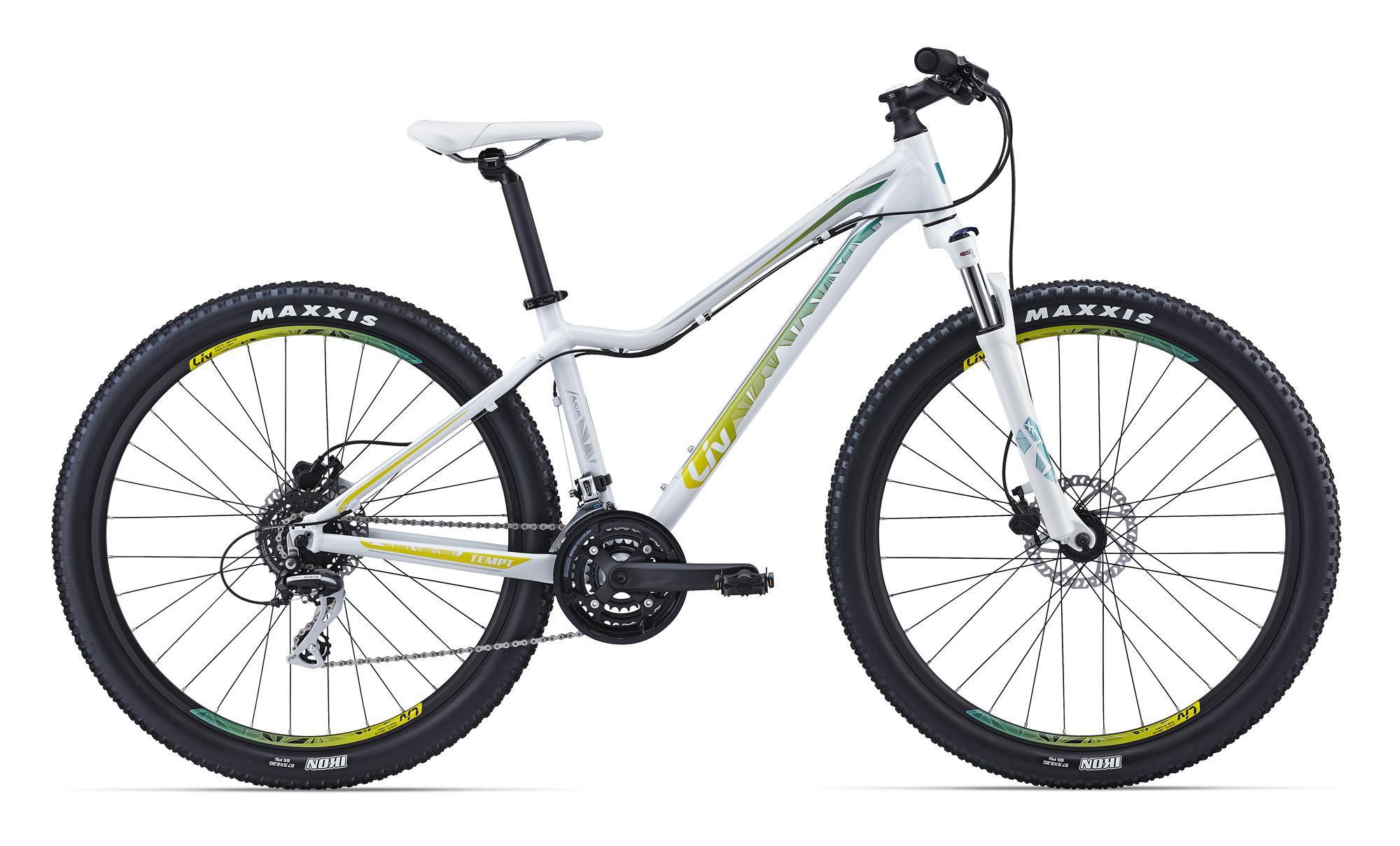 """Giant Tempt 4 (2016)Горные<br>Когда вы прогрессируете в катании на велосипеде, трейлы становятся все более сложными, тропинки более скоростными, а езда более техничной, то требования к велосипеду растут. Особенно, если этот велосипед женский. Giant Tempt 4 отлично подойдет под запросы прогрессирующей велосипедистки.<br>Рама сделана из легкого и прочного алюминия ALUXX со специальной женской геометрией под современный стандарт колес 27.5"""". Он очень стабилен и легко контролируется, это придаст уверенности в освоении новых маршрутов. Навесное оборудование тоже на уровне – амортизационная вилка с блокировкой, привод на 24 скорости, выносливые двойные обода и гидравлические тормоза с большим запасом мощности. Вперед к новым свершениям!<br>"""