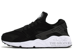 Кроссовки Женские Nike Air Huarache Black White Suede