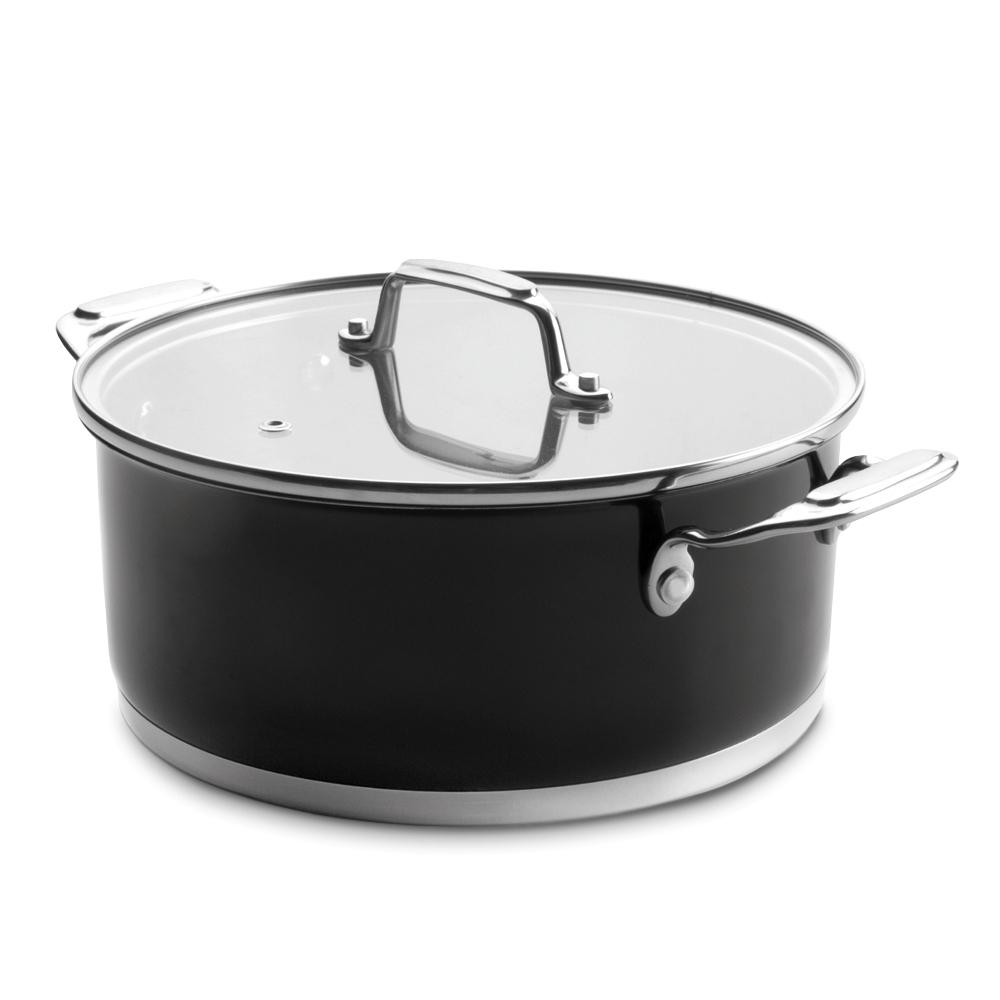 Кастрюля 16см (1,6 л) LACOR Cookware Black арт. 44016Кастрюли<br>Кастрюля 16см (1,6 л) LACOR Cookware Black арт. 44016<br><br>вид упаковки:подарочнаявысота (см):8.0диаметр (см):16.0крышка:естьматериал:нержавеющая стальобъем (л):1.60покрытие:без покрытияпредметов в наборе (штук):1ручки:фиксированныестрана:Испаниятип варочной поверхности:все типы поверхностей, кроме духовки<br><br>Серия посуды Cookware Black от испанской компании Lacor — это высокое качество, устойчивость к коррозии, прочность, долговечность и привлекательный дизайн. Все кастрюли этой серии изготовлены из хромоникелевой нержавеющей стали, имеют тройное дно и снабжены массивными крышками из ударопрочного стекла. Такая конструкция позволяет использовать меньшее количество масла и воды в процессе приготовления пищи и обеспечивает максимальное сохранение всех полезных свойств и вкусовых качеств блюд.<br>Посуда серии Cookware Black является экологически чистой, поскольку создана из так называемого «медицинского» металла. Крышка и корпус снабжены надежными ручками из материала с низкой теплопроводностью, что обеспечивает комфортную и безопасную эксплуатацию.<br>Официальный продавец LACOR<br>