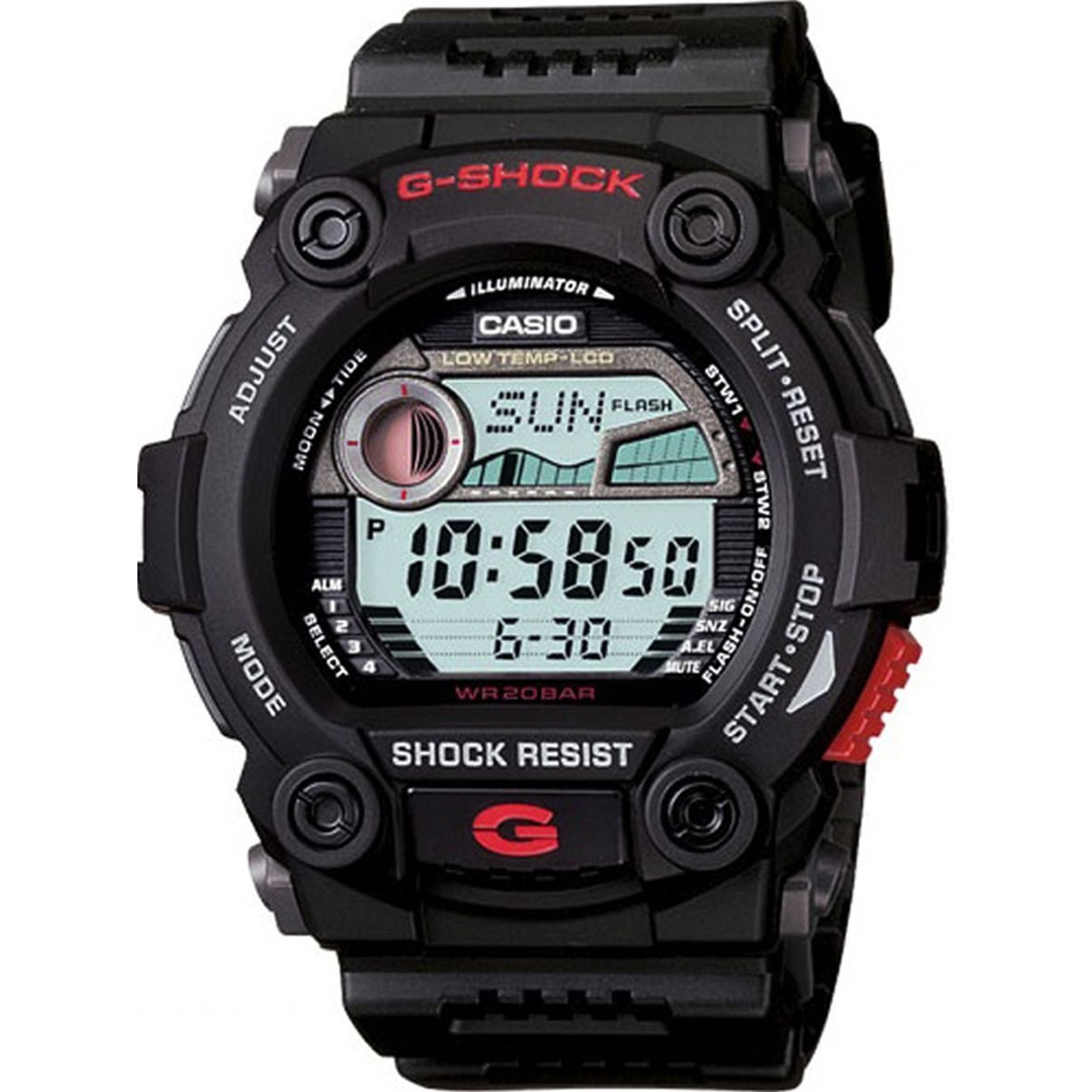 Casio G-SHOCK G-7900-1E / G-7900-1ER - мужские наручные часыCasio<br><br><br>Бренд: Casio<br>Модель: Casio G-7900-1E<br>Артикул: G-7900-1E<br>Вариант артикула: G-7900-1ER<br>Коллекция: G-SHOCK<br>Подколлекция: None<br>Страна: Япония<br>Пол: мужские<br>Тип механизма: кварцевые<br>Механизм: None<br>Количество камней: None<br>Автоподзавод: None<br>Источник энергии: от батарейки<br>Срок службы элемента питания: None<br>Дисплей: цифры<br>Цифры: None<br>Водозащита: WR 200<br>Противоударные: есть<br>Материал корпуса: пластик<br>Материал браслета: пластик<br>Материал безеля: None<br>Стекло: минеральное<br>Антибликовое покрытие: None<br>Цвет корпуса: None<br>Цвет браслета: None<br>Цвет циферблата: None<br>Цвет безеля: None<br>Размеры: 45.4x46.2x13.6 мм<br>Диаметр: None<br>Диаметр корпуса: None<br>Толщина: None<br>Ширина ремешка: None<br>Вес: 54.9 г<br>Спорт-функции: секундомер, таймер обратного отсчета<br>Подсветка: None<br>Вставка: None<br>Отображение даты: вечный календарь, число, месяц, год, день недели<br>Хронограф: None<br>Таймер: None<br>Термометр: None<br>Хронометр: None<br>GPS: None<br>Радиосинхронизация: None<br>Барометр: None<br>Скелетон: None<br>Дополнительная информация: срок службы батареи 2 года, элемент питания N CR2025, график приливов и отливов, устойчивость к низким температурам (-20 °C), повтор сигнала будильника<br>Дополнительные функции: индикатор запаса хода, второй часовой пояс, указатель фаз луны, будильник (количество установок: 5)