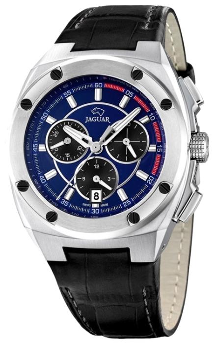 Jaguar J806_3 - мужские наручные часыJaguar<br><br><br>Бренд: Jaguar<br>Модель: Jaguar J806_3<br>Артикул: J806_3<br>Вариант артикула: None<br>Коллекция: None<br>Подколлекция: None<br>Страна: Швейцария<br>Пол: мужские<br>Тип механизма: кварцевые<br>Механизм: None<br>Количество камней: None<br>Автоподзавод: None<br>Источник энергии: от батарейки<br>Срок службы элемента питания: None<br>Дисплей: стрелки<br>Цифры: отсутствуют<br>Водозащита: WR 50<br>Противоударные: None<br>Материал корпуса: нерж. сталь<br>Материал браслета: кожа<br>Материал безеля: None<br>Стекло: сапфировое<br>Антибликовое покрытие: None<br>Цвет корпуса: None<br>Цвет браслета: None<br>Цвет циферблата: None<br>Цвет безеля: None<br>Размеры: 43.7x13.3 мм<br>Диаметр: None<br>Диаметр корпуса: None<br>Толщина: None<br>Ширина ремешка: None<br>Вес: None<br>Спорт-функции: секундомер<br>Подсветка: стрелок<br>Вставка: None<br>Отображение даты: число<br>Хронограф: есть<br>Таймер: None<br>Термометр: None<br>Хронометр: None<br>GPS: None<br>Радиосинхронизация: None<br>Барометр: None<br>Скелетон: None<br>Дополнительная информация: None<br>Дополнительные функции: None