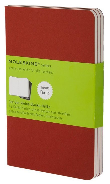 Набор 3 блокнота Moleskine Cahier Journal Large, цвет клюквенный, без разлиновкиMOLESKINE<br><br>