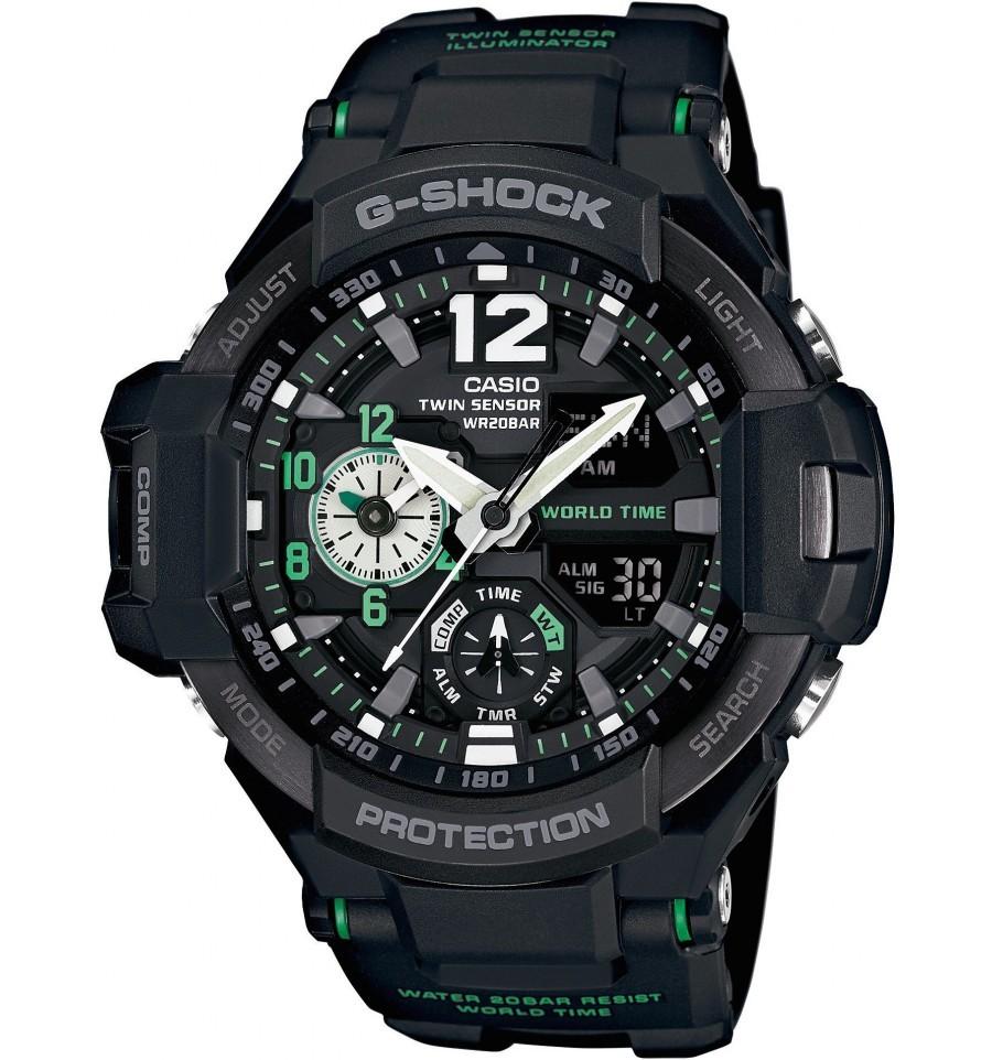 Casio G-SHOCK GA-1100-1A3 / Casio GA-1100-1A3ER - мужские наручные часыCasio<br>Новинка в линейке авиаторов! Мужские кварцевые часы Casio GA-1100-1A3 отличаются практически идеальной точностью, имея минимальную погрешность, составляющую всего +/- пятнадцать секунд в месяц. Фактически вечный календарь отображает число, месяц, а так же день недели. Модель великолепно подойдет для спортсменов, так как наделена такими функциями как секундомер, таймер обратного отсчета, термометр и компас. Подсветка дисплея и стрелок поможет рассмотреть время в темное время суток.<br><br>Бренд: Casio<br>Модель: Casio GA-1100-1A3<br>Артикул: GA-1100-1A3<br>Вариант артикула: Casio GA-1100-1A3ER<br>Коллекция: G-SHOCK<br>Подколлекция: None<br>Страна: Япония<br>Пол: мужские<br>Тип механизма: кварцевые<br>Механизм: None<br>Количество камней: None<br>Автоподзавод: None<br>Источник энергии: от батарейки<br>Срок службы элемента питания: None<br>Дисплей: стрелки + цифры<br>Цифры: арабские<br>Водозащита: WR 200<br>Противоударные: есть<br>Материал корпуса: нерж. сталь + пластик<br>Материал браслета: пластик<br>Материал безеля: None<br>Стекло: минеральное<br>Антибликовое покрытие: None<br>Цвет корпуса: None<br>Цвет браслета: None<br>Цвет циферблата: None<br>Цвет безеля: None<br>Размеры: None<br>Диаметр: None<br>Диаметр корпуса: None<br>Толщина: None<br>Ширина ремешка: None<br>Вес: 85 г<br>Спорт-функции: секундомер, таймер обратного отсчета, термометр, компас<br>Подсветка: дисплея, стрелок<br>Вставка: None<br>Отображение даты: вечный календарь, число, месяц, день недели<br>Хронограф: None<br>Таймер: None<br>Термометр: None<br>Хронометр: None<br>GPS: None<br>Радиосинхронизация: None<br>Барометр: None<br>Скелетон: None<br>Дополнительная информация: функция перемещения стрелок, ежечасный сигнал, функция включения/отключения звука кнопок, элемент питания SR927W ? 2, срок службы батарейки 2 года<br>Дополнительные функции: второй часовой пояс, будильник (количество установок: 5)