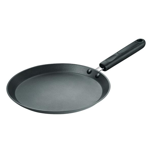 Сковорода блинная Rondell Pancake Frypan 26 см RDA-128Блинницы Rondell<br>Сковорода блинная Rondell Pancake Frypan 26 см RDA-128<br><br>Диаметр: 26 см.<br>Штампованный алюминий. Толщина металла - 3.5 мм. Двустороннее анодирование - 39-44 микрон, исключает взаимодействие пищи с алюминием. Внешнее покрытие - анодированный алюминий. Внутреннее покрытие - трехслойное, износостойкое антипригарное покрытие на основе титана TriTitan®. Возможно использование металлических лопаток. Бакелитовые ненагревающиеся аксессуары. Надежное клепочное крепление. Упаковка - картонный вкладыш + термопленка. Подходит для всех видов плит, кроме индукции. Не подходит для посудомоечной машины.<br>