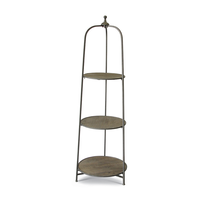 Круглый стеллаж с 3 полками (Мебель и предметы интерьера)Мебель и предметы интерьера<br>Круглый металлический стеллаж с 3 деревянными полками<br>Размер: 49x47x149 см<br>Производитель: Dekoratief, Бельгия<br>