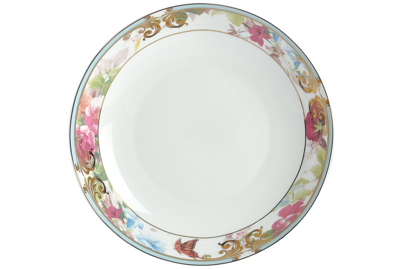 Набор из 6 тарелок суповых Royal Aurel Цветущий сад (20см) арт.725Наборы тарелок<br>Набор из 6 тарелок суповых Royal Aurel Цветущий сад (20см) арт.725<br>Производить посуду из фарфора начали в Китае на стыке 6-7 веков. Неустанно совершенствуя и селективно отбирая сырье для производства посуды из фарфора, мастерам удалось добиться выдающихся характеристик фарфора: белизны и тонкостенности. В XV веке появился особый интерес к китайской фарфоровой посуде, так как в это время Европе возникла мода на самобытные китайские вещи. Роскошный китайский фарфор являлся изыском и был в новинку, поэтому он выступал в качестве подарка королям, а также знатным людям. Такой дорогой подарок был очень престижен и по праву являлся элитной посудой. Как известно из многочисленных исторических документов, в Европе китайские изделия из фарфора ценились практически как золото. <br>Проверка изделий из костяного фарфора на подлинность <br>По сравнению с производством других видов фарфора процесс производства изделий из настоящего костяного фарфора сложен и весьма длителен. Посуда из изящного фарфора - это элитная посуда, которая всегда ассоциируется с богатством, величием и благородством. Несмотря на небольшую толщину, фарфоровая посуда - это очень прочное изделие. Для демонстрации плотности и прочности фарфора можно легко коснуться предметов посуды из фарфора деревянной палочкой, и тогда мы услушим характерный металлический звон. В составе фарфоровой посуды присутствует костяная зола, благодаря чему она может быть намного тоньше (не более 2,5 мм) и легче твердого или мягкого фарфора. Безупречная белизна - ключевой признак отличия такого фарфора от других. Цвет обычного фарфора сероватый или ближе к голубоватому, а костяной фарфор будет всегда будет молочно-белого цвета. Характерная и немаловажная деталь - это невесомая прозрачность изделий из фарфора такая, что сквозь него проходит свет.<br>