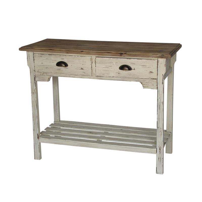 Консоль с 1 полкой и 2 ящиками (Мебель и предметы интерьера)Мебель и предметы интерьера<br>Деревянная консоль с 1 полкой и 2 ящиками<br>Размер: 97x40x76 см<br>Производитель: Dekoratief, Бельгия<br>