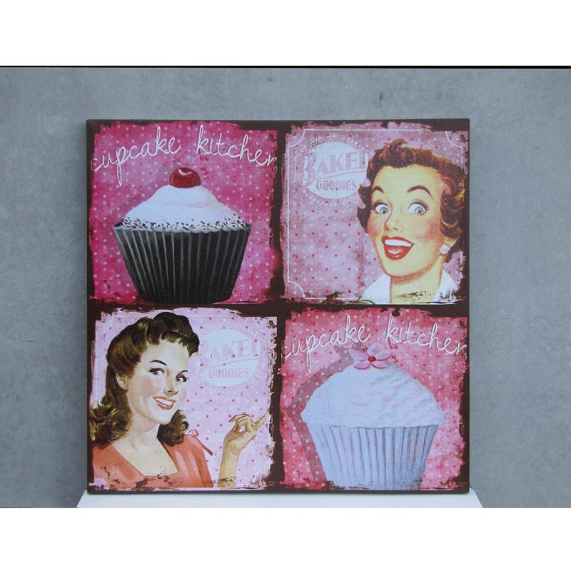 Панно «Cupcake Kitchen» (Панно)Панно<br>Винтажное панно Cupcake Kitchen<br>60x60x2 см<br>Производитель: Dekoratief, Бельгия<br>