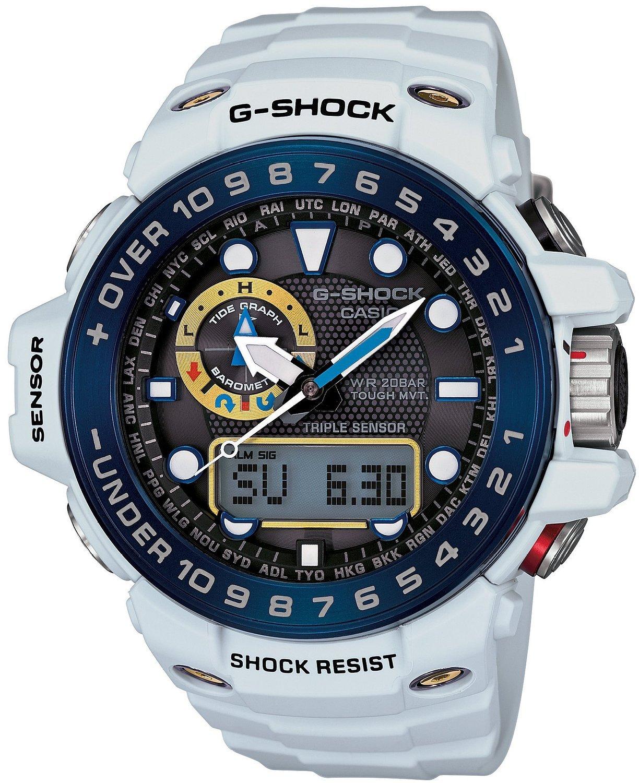 Casio G-SHOCK GWN-1000E-8A / GWN-1000E-8AER - мужские наручные часыCasio<br><br><br>Бренд: Casio<br>Модель: Casio GWN-1000E-8A<br>Артикул: GWN-1000E-8A<br>Вариант артикула: GWN-1000E-8AER<br>Коллекция: G-SHOCK<br>Подколлекция: None<br>Страна: Япония<br>Пол: мужские<br>Тип механизма: кварцевые<br>Механизм: None<br>Количество камней: None<br>Автоподзавод: None<br>Источник энергии: от солнечной батареи<br>Срок службы элемента питания: None<br>Дисплей: стрелки + цифры<br>Цифры: отсутствуют<br>Водозащита: WR 200<br>Противоударные: есть<br>Материал корпуса: нерж. сталь + пластик<br>Материал браслета: пластик<br>Материал безеля: None<br>Стекло: минеральное<br>Антибликовое покрытие: None<br>Цвет корпуса: None<br>Цвет браслета: None<br>Цвет циферблата: None<br>Цвет безеля: None<br>Размеры: None<br>Диаметр: None<br>Диаметр корпуса: None<br>Толщина: None<br>Ширина ремешка: None<br>Вес: 101 г<br>Спорт-функции: секундомер, таймер обратного отсчета, высотомер, барометр, термометр, компас<br>Подсветка: дисплея, стрелок<br>Вставка: None<br>Отображение даты: вечный календарь, число, день недели<br>Хронограф: None<br>Таймер: None<br>Термометр: None<br>Хронометр: None<br>GPS: None<br>Радиосинхронизация: есть<br>Барометр: None<br>Скелетон: None<br>Дополнительная информация: отображение сведений о приливах и отливах, ежечасный сигнал, функция сохранения энергии, функция включения/отключения звука кнопок, функция перемещения стрелок, работоспособность в полной темноте до 6 месяцев в обычном режиме и до 23 месяцев в режиме сохранения энергии<br>Дополнительные функции: индикатор запаса хода, второй часовой пояс, указатель фаз Луны, будильник (количество установок: 5)