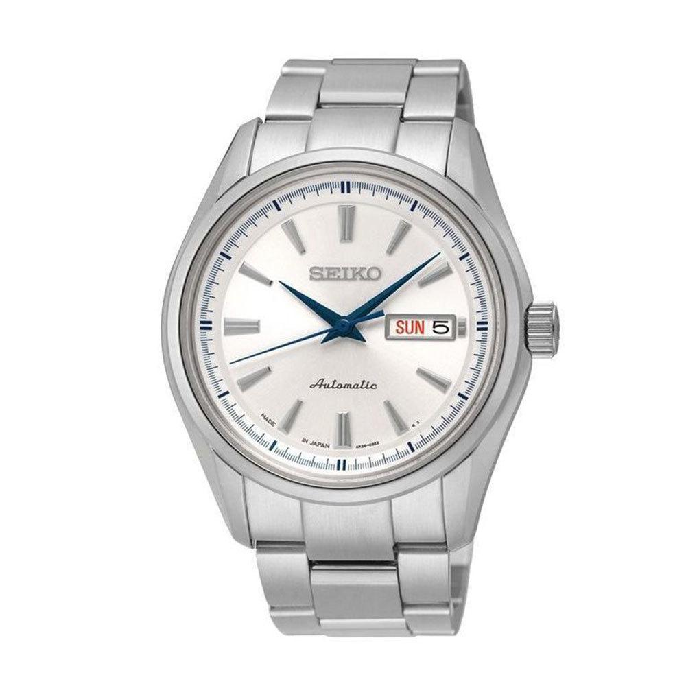 Наручные часы SeikoSeiko Presage<br>Непревзойдённая классика механических часов от SEIKO.Корпус: Сталь . Браслет: Сталь. Сапфировое стекло. Задняя крышка открытая. Индикация даты и дня недели в одном окошке. Защита от воды 100 м.<br>