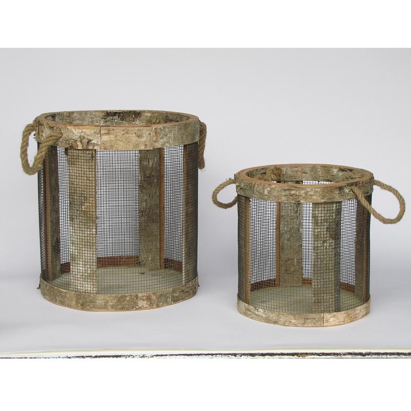 Корзина средняя (Мебель и предметы интерьера)Мебель и предметы интерьера<br>Корзина средняя проволочная с берестяной веревкой<br>Производитель: Dekoratief, Бельгия<br>