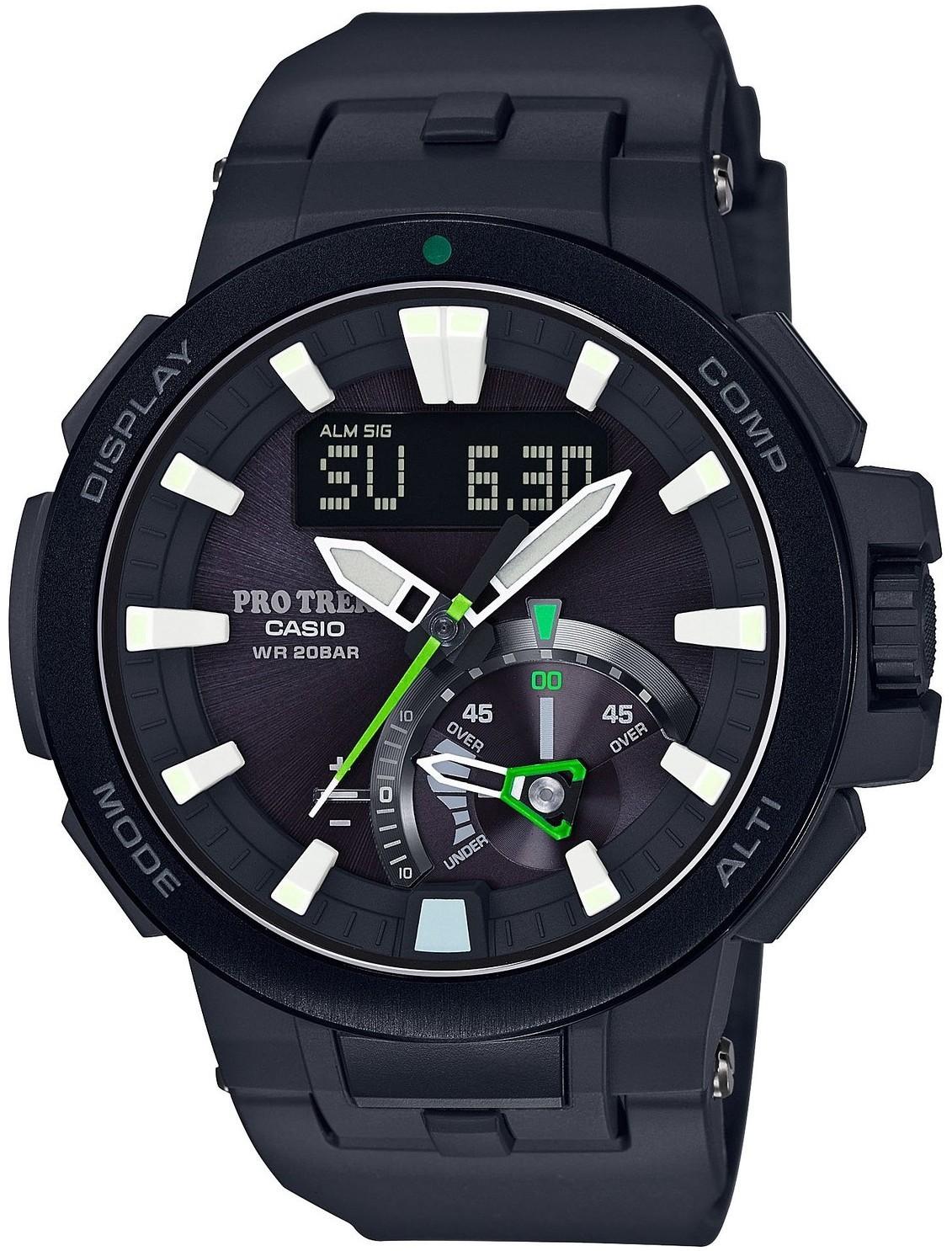 Casio Protrek PRW-7000-1A / PRW-7000-1AER - мужские наручные часыCasio<br><br><br>Бренд: Casio<br>Модель: Casio PRW-7000-1A<br>Артикул: PRW-7000-1A<br>Вариант артикула: PRW-7000-1AER<br>Коллекция: Protrek<br>Подколлекция: None<br>Страна: None<br>Пол: мужские<br>Тип механизма: None<br>Механизм: None<br>Количество камней: None<br>Автоподзавод: None<br>Источник энергии: от солнечной батареи<br>Срок службы элемента питания: None<br>Дисплей: стрелки<br>Цифры: отсутствуют<br>Водозащита: WR 200<br>Противоударные: есть<br>Материал корпуса: нерж. сталь + пластик<br>Материал браслета: пластик<br>Материал безеля: None<br>Стекло: сапфировое<br>Антибликовое покрытие: есть<br>Цвет корпуса: None<br>Цвет браслета: None<br>Цвет циферблата: None<br>Цвет безеля: None<br>Размеры: 52.3x58.7x14.5 мм<br>Диаметр: None<br>Диаметр корпуса: None<br>Толщина: None<br>Ширина ремешка: None<br>Вес: 95 г<br>Спорт-функции: секундомер, таймер обратного отсчета, высотомер, барометр, термометр, компас<br>Подсветка: дисплея, стрелок<br>Вставка: None<br>Отображение даты: вечный календарь, число, месяц, день недели<br>Хронограф: есть<br>Таймер: None<br>Термометр: None<br>Хронометр: None<br>GPS: None<br>Радиосинхронизация: есть<br>Барометр: None<br>Скелетон: None<br>Дополнительная информация: автоподсветка, ежечасный сигнал, функция перемещения стрелок, функция сохранения энергии, функция включения/отключения звука кнопок; ремешок с карбоновой вставкой<br>Дополнительные функции: индикатор запаса хода, второй часовой пояс, указатель фаз Луны, время восхода и заката, будильник (количество установок: 5)