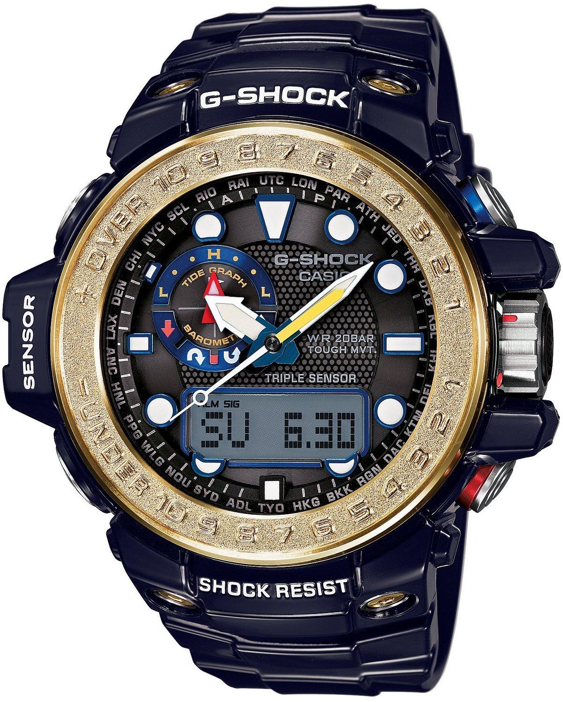 Casio G-SHOCK GWN-1000F-2A / GWN-1000F-2AER - мужские наручные часыCasio<br><br><br>Бренд: Casio<br>Модель: Casio GWN-1000F-2A<br>Артикул: GWN-1000F-2A<br>Вариант артикула: GWN-1000F-2AER<br>Коллекция: G-SHOCK<br>Подколлекция: None<br>Страна: Япония<br>Пол: мужские<br>Тип механизма: кварцевые<br>Механизм: None<br>Количество камней: None<br>Автоподзавод: None<br>Источник энергии: от солнечной батареи<br>Срок службы элемента питания: None<br>Дисплей: стрелки + цифры<br>Цифры: отсутствуют<br>Водозащита: WR 200<br>Противоударные: есть<br>Материал корпуса: нерж. сталь + пластик<br>Материал браслета: пластик<br>Материал безеля: None<br>Стекло: минеральное<br>Антибликовое покрытие: None<br>Цвет корпуса: None<br>Цвет браслета: None<br>Цвет циферблата: None<br>Цвет безеля: None<br>Размеры: None<br>Диаметр: None<br>Диаметр корпуса: None<br>Толщина: None<br>Ширина ремешка: None<br>Вес: 101 г<br>Спорт-функции: секундомер, таймер обратного отсчета, высотомер, барометр, термометр, компас<br>Подсветка: дисплея, стрелок<br>Вставка: None<br>Отображение даты: вечный календарь, число, день недели<br>Хронограф: None<br>Таймер: None<br>Термометр: None<br>Хронометр: None<br>GPS: None<br>Радиосинхронизация: есть<br>Барометр: None<br>Скелетон: None<br>Дополнительная информация: отображение сведений о приливах и отливах, ежечасный сигнал, функция сохранения энергии, функция включения/отключения звука кнопок, функция перемещения стрелок, работоспособность в полной темноте до 6 месяцев в обычном режиме и до 23 месяцев в режиме сохранения энергии<br>Дополнительные функции: индикатор запаса хода, второй часовой пояс, указатель фаз Луны, будильник (количество установок: 5)