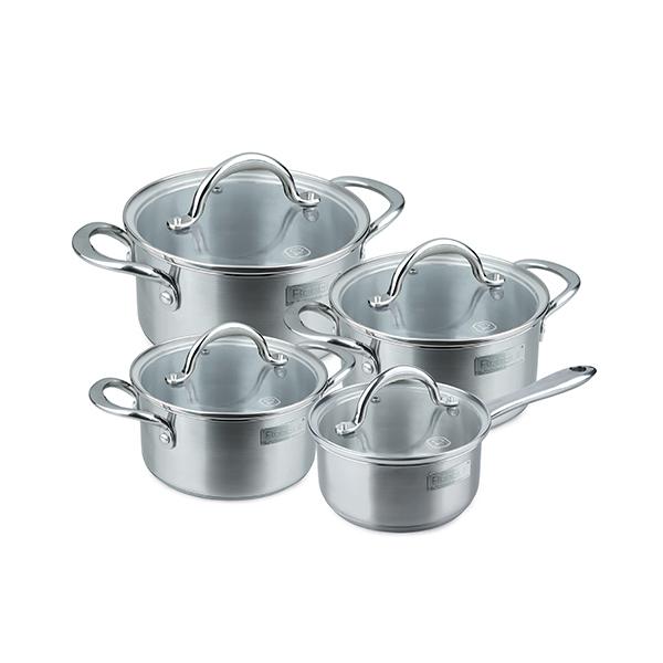 Набор посуды Rondell Destiny 8 предметов RDS-744Наборы посуды Rondell<br>Набор посуды Rondell Destiny 8 предметов RDS-744<br><br>В набор RDS-744 входит:<br><br>Кастрюля 24 см (4.8л) + крышка <br>Кастрюля 20 см (2.7л) + крышка <br>Кастрюля 18 см (1.8л) + крышка <br>Ковш 16 см (1.2л) + крышка<br><br>Высококачественная нержавеющая сталь 18/10. Толщина стенок 0.5 мм. Тройное вштампованное, а затем вплавленное дно 5.0 мм. Матированная обработка внешней поверхности. Отметки литража на внутренней поверхности посуды. Стильный брендированный шильдик на корпусе. Крышка из термостойкого стекла с отверстием для выпуска пара. Литые аксессуары из нержавеющей стали. Надежное клепочное крепление. Упаковка - подарочная корбкас веревочными ручками. Буклет с рецептами. Подходит для всех видов плит, включая индукционные. Подходит для посудомоечной машины.<br>