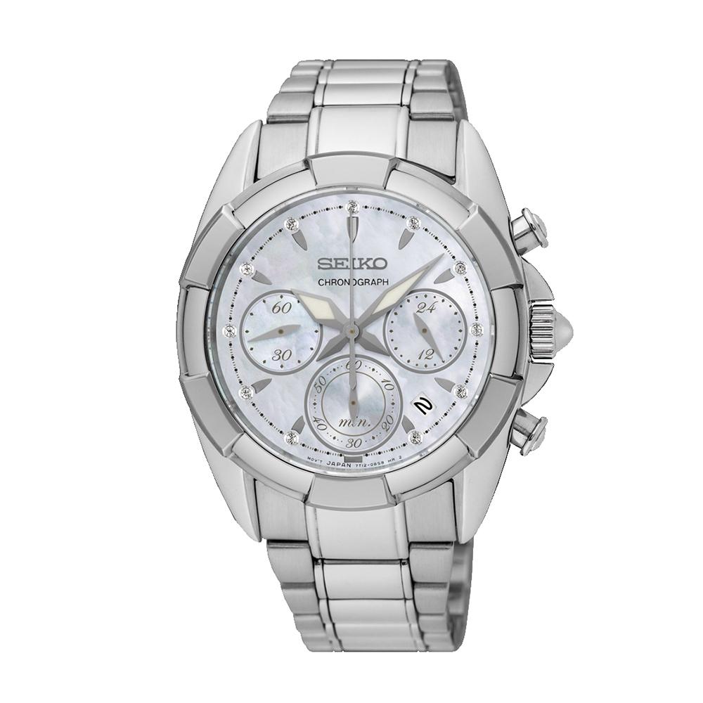 Наручные часы SeikoSeiko Conceptual Series Dress<br>Seiko Lady Quartz Chrono SRW807P1 - женские кварцевые часы. Корпус этих часов среднего размера (36 мм.) и выполнен из нержавеющей стали. Модель Lady Quartz Chrono SRW807P1 имеет сапфировое стекло, стальной браслет металлического цвета, белый циферблат. Водоустойчивость: 100 метров. Дополнительные функции и особенности: дата, хронограф, бриллианты.<br>