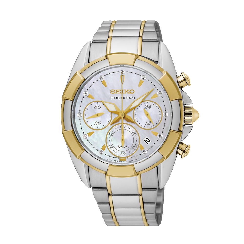 Наручные часы SeikoSeiko Conceptual Series Dress<br>Seiko Lady Quartz Chrono SRW808P1 - женские кварцевые часы. Корпус этих часов среднего размера (36 мм.) и выполнен из нержавеющей стали и нержавеющей стали с золотом. Модель Lady Quartz Chrono SRW808P1 имеет сапфировое стекло, сталь;сталь-золото металлического/золотого цвета, белый циферблат. Водоустойчивость: 100 метров. Дополнительные функции и особенности: дата, хронограф, бриллианты.<br>