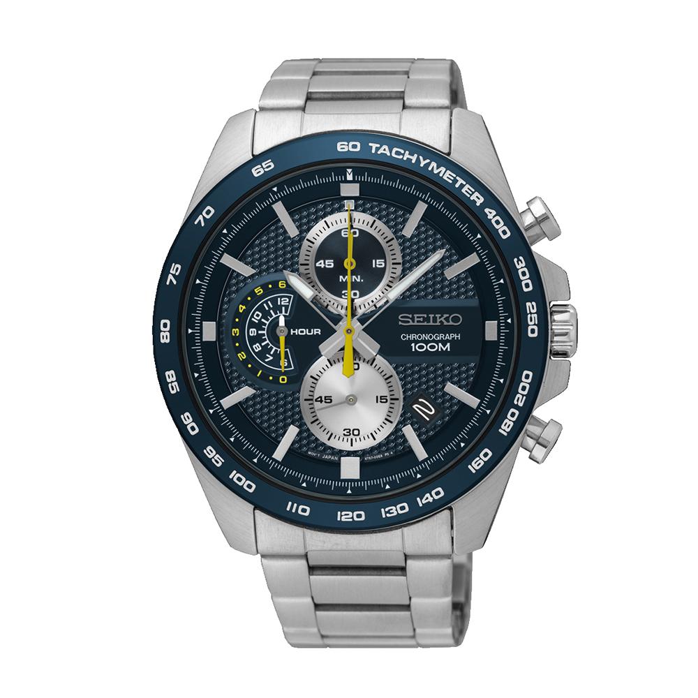 Наручные часы SeikoSeiko Conceptual Series Sports<br>Seiko Chronograph SSB259P1 - мужские кварцевые часы. Корпус этих часов крупного размера (44 мм.) и выполнен из нержавеющей стали. Модель Chronograph SSB259P1 имеет стекло хардлекс, стальной браслет металлического цвета, синий циферблат. Водоустойчивость: 100 метров. Дополнительные функции и особенности: дата, хронограф, тахиметр.<br>