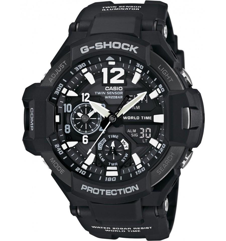 Casio G-SHOCK GA-1100-1A / GA-1100-1AER - мужские наручные часыCasio<br><br><br>Бренд: Casio<br>Модель: Casio GA-1100-1A<br>Артикул: GA-1100-1A<br>Вариант артикула: GA-1100-1AER<br>Коллекция: G-SHOCK<br>Подколлекция: None<br>Страна: Япония<br>Пол: мужские<br>Тип механизма: кварцевые<br>Механизм: None<br>Количество камней: None<br>Автоподзавод: None<br>Источник энергии: от батарейки<br>Срок службы элемента питания: None<br>Дисплей: стрелки + цифры<br>Цифры: арабские<br>Водозащита: WR 200<br>Противоударные: есть<br>Материал корпуса: нерж. сталь + пластик<br>Материал браслета: пластик<br>Материал безеля: None<br>Стекло: минеральное<br>Антибликовое покрытие: None<br>Цвет корпуса: None<br>Цвет браслета: None<br>Цвет циферблата: None<br>Цвет безеля: None<br>Размеры: None<br>Диаметр: None<br>Диаметр корпуса: None<br>Толщина: None<br>Ширина ремешка: None<br>Вес: 85 г<br>Спорт-функции: секундомер, таймер обратного отсчета, термометр, компас<br>Подсветка: дисплея, стрелок<br>Вставка: None<br>Отображение даты: вечный календарь, число, месяц, день недели<br>Хронограф: None<br>Таймер: None<br>Термометр: None<br>Хронометр: None<br>GPS: None<br>Радиосинхронизация: None<br>Барометр: None<br>Скелетон: None<br>Дополнительная информация: функция перемещения стрелок, ежечасный сигнал, функция включения/отключения звука кнопок, элемент питания SR927W ? 2, срок службы батарейки 2 года<br>Дополнительные функции: второй часовой пояс, будильник (количество установок: 5)