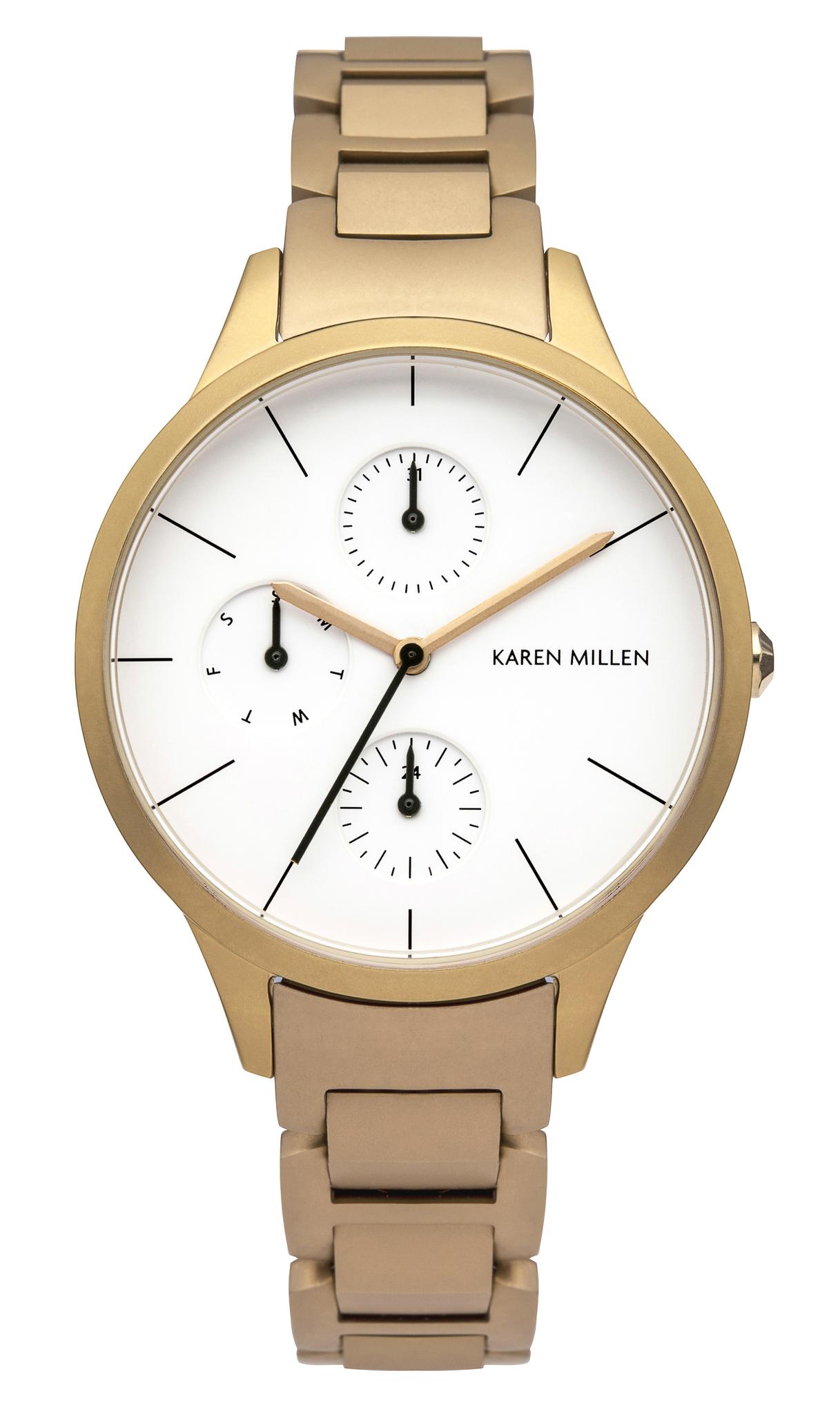 Karen Millen KM144GM - женские наручные часы из коллекции Autum6Karen Millen<br><br><br>Бренд: Karen Millen<br>Модель: Karen Millen KM144GM<br>Артикул: KM144GM<br>Вариант артикула: None<br>Коллекция: Autum6<br>Подколлекция: None<br>Страна: Великобритания<br>Пол: женские<br>Тип механизма: кварцевые<br>Механизм: Miyota 6P27<br>Количество камней: None<br>Автоподзавод: None<br>Источник энергии: от батарейки<br>Срок службы элемента питания: None<br>Дисплей: стрелки<br>Цифры: отсутствуют<br>Водозащита: WR 50<br>Противоударные: None<br>Материал корпуса: нерж. сталь, IP покрытие (полное)<br>Материал браслета: нерж. сталь, IP покрытие (полное)<br>Материал безеля: None<br>Стекло: минеральное<br>Антибликовое покрытие: None<br>Цвет корпуса: None<br>Цвет браслета: None<br>Цвет циферблата: None<br>Цвет безеля: None<br>Размеры: 34x8 мм<br>Диаметр: None<br>Диаметр корпуса: None<br>Толщина: None<br>Ширина ремешка: None<br>Вес: None<br>Спорт-функции: None<br>Подсветка: None<br>Вставка: None<br>Отображение даты: число, день недели<br>Хронограф: None<br>Таймер: None<br>Термометр: None<br>Хронометр: None<br>GPS: None<br>Радиосинхронизация: None<br>Барометр: None<br>Скелетон: None<br>Дополнительная информация: None<br>Дополнительные функции: None