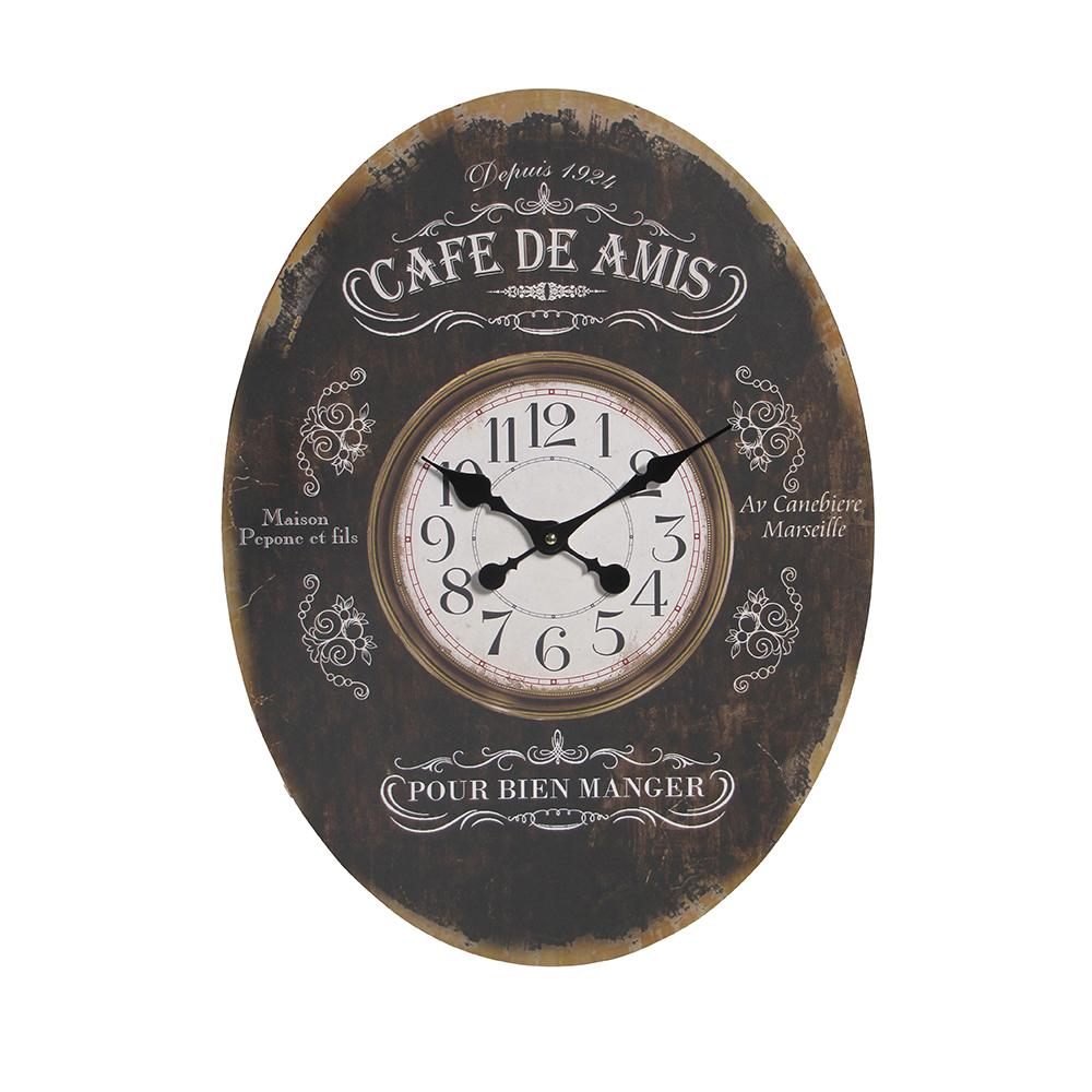 Настенные часы «Cafe des Amis» (Настенные и настольные часы)Настенные и настольные часы<br>Настенные часы Cafe des Amis<br>Овальные 43х58 см<br>Материал: Дерево<br>Производитель: Dekoratief, Бельгия<br>