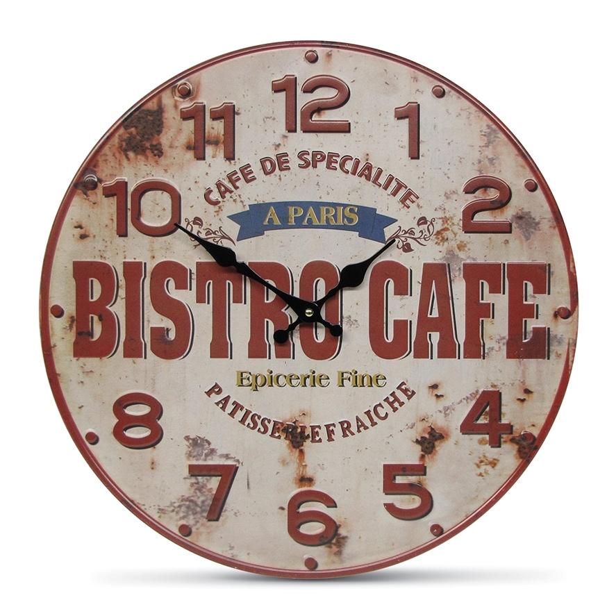 Настенные часы «Bistro Cafe» (Настенные и настольные часы)Настенные и настольные часы<br>Настенные часы Bistro Cafe Круглые, диам.40 см<br>Металл<br>Производитель: Dekoratief, Бельгия<br>