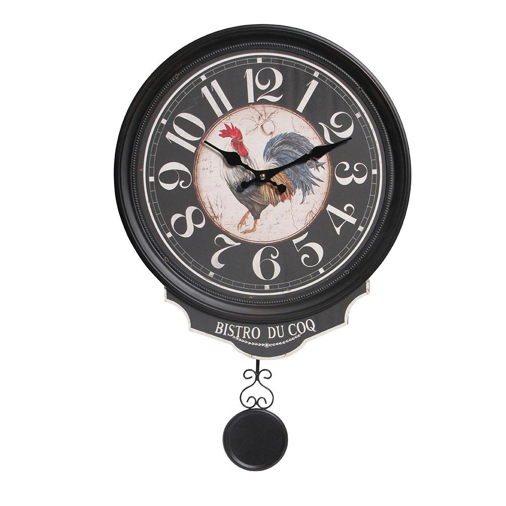 Настенные часы Черный петух (Настенные и настольные часы)Настенные и настольные часы<br>Настенные часы Черный петух с маятником<br>36х40 см<br>Материал: Дерево<br>Производитель: Dekoratief, Бельгия<br>