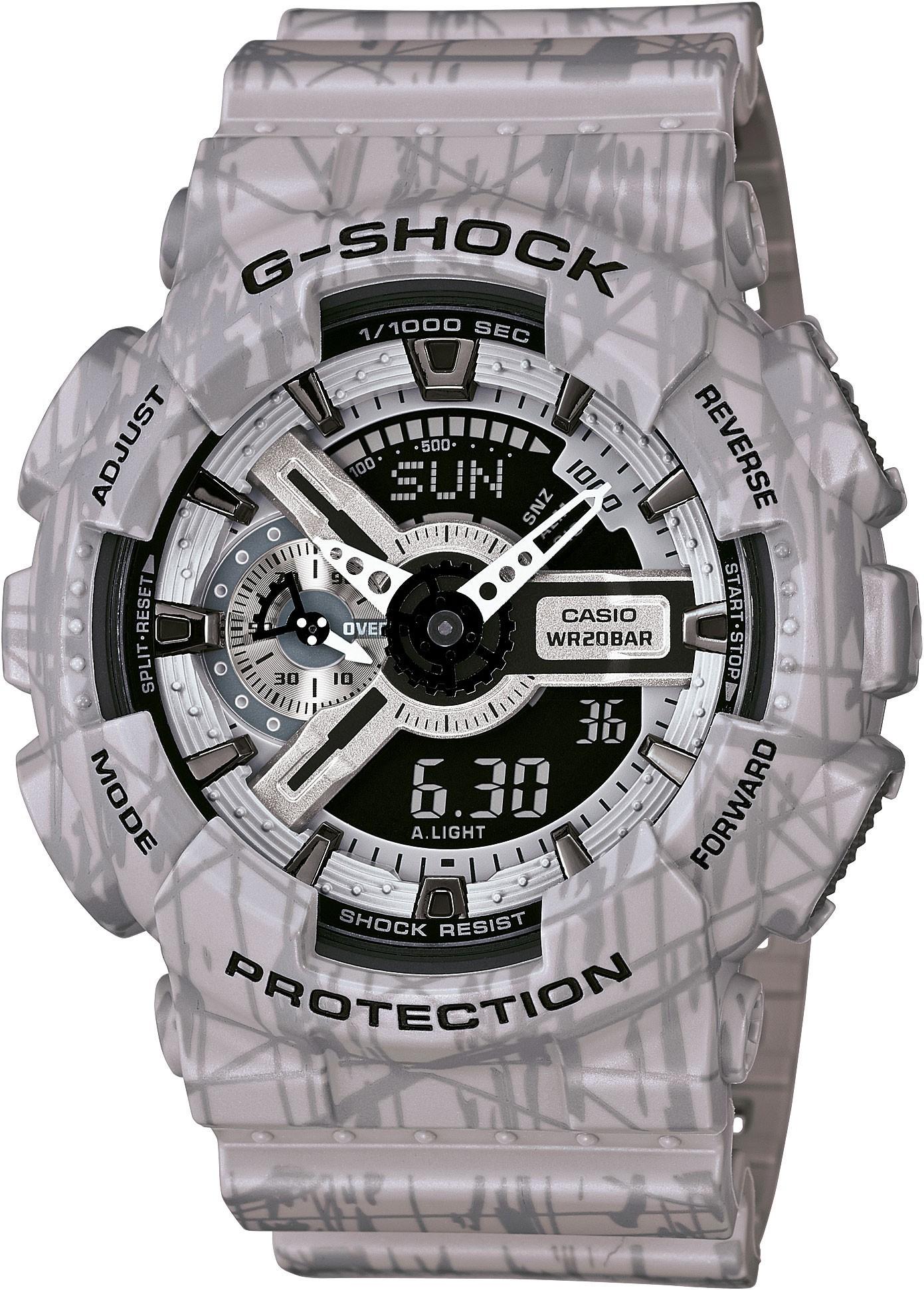 Casio G-SHOCK GA-110SL-8A / GA-110SL-8AER - мужские наручные часыCasio<br><br><br>Бренд: Casio<br>Модель: Casio GA-110SL-8A<br>Артикул: GA-110SL-8A<br>Вариант артикула: GA-110SL-8AER<br>Коллекция: G-SHOCK<br>Подколлекция: None<br>Страна: Япония<br>Пол: мужские<br>Тип механизма: кварцевые<br>Механизм: None<br>Количество камней: None<br>Автоподзавод: None<br>Источник энергии: от батарейки<br>Срок службы элемента питания: None<br>Дисплей: стрелки + цифры<br>Цифры: отсутствуют<br>Водозащита: WR 200<br>Противоударные: есть<br>Материал корпуса: пластик<br>Материал браслета: пластик<br>Материал безеля: None<br>Стекло: минеральное<br>Антибликовое покрытие: None<br>Цвет корпуса: None<br>Цвет браслета: None<br>Цвет циферблата: None<br>Цвет безеля: None<br>Размеры: None<br>Диаметр: None<br>Диаметр корпуса: None<br>Толщина: None<br>Ширина ремешка: None<br>Вес: 72 г<br>Спорт-функции: секундомер, таймер обратного отсчета<br>Подсветка: дисплея, стрелок<br>Вставка: None<br>Отображение даты: вечный календарь, число, месяц, день недели<br>Хронограф: None<br>Таймер: None<br>Термометр: None<br>Хронометр: None<br>GPS: None<br>Радиосинхронизация: None<br>Барометр: None<br>Скелетон: None<br>Дополнительная информация: ежечасный сигнал, повтор сигнала будильника, защита от магнитных полей, элемент питания CR1220, срок службы батарейки 2 года<br>Дополнительные функции: второй часовой пояс, будильник (количество установок: 5)