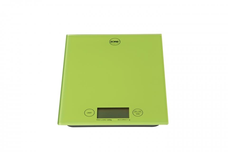 Кухонные весы ZONE GOURMET CONFETTI 321035Скидки на товары для кухни<br>Минималистичные высокофункциональные весы из ударопрочного стекла для любых кухонных нужд. Яркий, аппетитный оттенок лайма настраивает на позитивную рабочую атмосферу. Интуитивное управление позволяет использовать весы даже ребенку.<br>