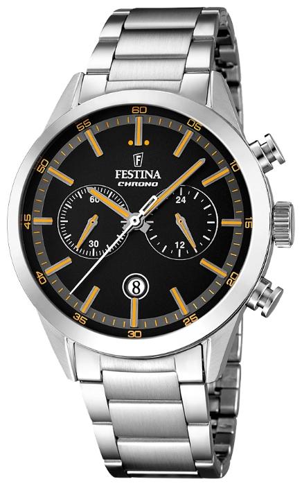 Festina F16826.4 - мужские наручные часы из коллекции ChronographFestina<br><br><br>Бренд: Festina<br>Модель: Festina F16826/4<br>Артикул: F16826.4<br>Вариант артикула: None<br>Коллекция: Chronograph<br>Подколлекция: None<br>Страна: Испания<br>Пол: мужские<br>Тип механизма: кварцевые<br>Механизм: MOS21<br>Количество камней: None<br>Автоподзавод: None<br>Источник энергии: от батарейки<br>Срок службы элемента питания: None<br>Дисплей: стрелки<br>Цифры: отсутствуют<br>Водозащита: WR 50<br>Противоударные: None<br>Материал корпуса: нерж. сталь<br>Материал браслета: нерж. сталь<br>Материал безеля: None<br>Стекло: минеральное<br>Антибликовое покрытие: None<br>Цвет корпуса: None<br>Цвет браслета: None<br>Цвет циферблата: None<br>Цвет безеля: None<br>Размеры: 44 мм<br>Диаметр: None<br>Диаметр корпуса: None<br>Толщина: None<br>Ширина ремешка: None<br>Вес: None<br>Спорт-функции: секундомер<br>Подсветка: None<br>Вставка: None<br>Отображение даты: число<br>Хронограф: есть<br>Таймер: None<br>Термометр: None<br>Хронометр: None<br>GPS: None<br>Радиосинхронизация: None<br>Барометр: None<br>Скелетон: None<br>Дополнительная информация: None<br>Дополнительные функции: None