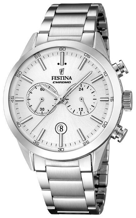 Festina F16826.1 - мужские наручные часы из коллекции ChronographFestina<br><br><br>Бренд: Festina<br>Модель: Festina F16826/1<br>Артикул: F16826.1<br>Вариант артикула: None<br>Коллекция: Chronograph<br>Подколлекция: None<br>Страна: Испания<br>Пол: мужские<br>Тип механизма: кварцевые<br>Механизм: MOS21<br>Количество камней: None<br>Автоподзавод: None<br>Источник энергии: от батарейки<br>Срок службы элемента питания: None<br>Дисплей: стрелки<br>Цифры: отсутствуют<br>Водозащита: WR 50<br>Противоударные: None<br>Материал корпуса: нерж. сталь<br>Материал браслета: нерж. сталь<br>Материал безеля: None<br>Стекло: минеральное<br>Антибликовое покрытие: None<br>Цвет корпуса: None<br>Цвет браслета: None<br>Цвет циферблата: None<br>Цвет безеля: None<br>Размеры: 44 мм<br>Диаметр: None<br>Диаметр корпуса: None<br>Толщина: None<br>Ширина ремешка: None<br>Вес: None<br>Спорт-функции: секундомер<br>Подсветка: стрелок<br>Вставка: None<br>Отображение даты: число<br>Хронограф: есть<br>Таймер: None<br>Термометр: None<br>Хронометр: None<br>GPS: None<br>Радиосинхронизация: None<br>Барометр: None<br>Скелетон: None<br>Дополнительная информация: None<br>Дополнительные функции: None
