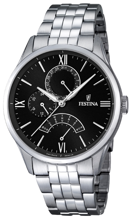 Festina F16822.4 - мужские наручные часы из коллекции RetrogradeFestina<br><br><br>Бренд: Festina<br>Модель: Festina F16822/4<br>Артикул: F16822.4<br>Вариант артикула: None<br>Коллекция: Retrograde<br>Подколлекция: None<br>Страна: Испания<br>Пол: мужские<br>Тип механизма: кварцевые<br>Механизм: MJR10<br>Количество камней: None<br>Автоподзавод: None<br>Источник энергии: от батарейки<br>Срок службы элемента питания: None<br>Дисплей: стрелки<br>Цифры: римские<br>Водозащита: WR 50<br>Противоударные: None<br>Материал корпуса: нерж. сталь<br>Материал браслета: нерж. сталь<br>Материал безеля: None<br>Стекло: минеральное<br>Антибликовое покрытие: None<br>Цвет корпуса: None<br>Цвет браслета: None<br>Цвет циферблата: None<br>Цвет безеля: None<br>Размеры: 43 мм<br>Диаметр: None<br>Диаметр корпуса: None<br>Толщина: None<br>Ширина ремешка: None<br>Вес: None<br>Спорт-функции: None<br>Подсветка: стрелок<br>Вставка: None<br>Отображение даты: число, день недели<br>Хронограф: None<br>Таймер: None<br>Термометр: None<br>Хронометр: None<br>GPS: None<br>Радиосинхронизация: None<br>Барометр: None<br>Скелетон: None<br>Дополнительная информация: None<br>Дополнительные функции: None