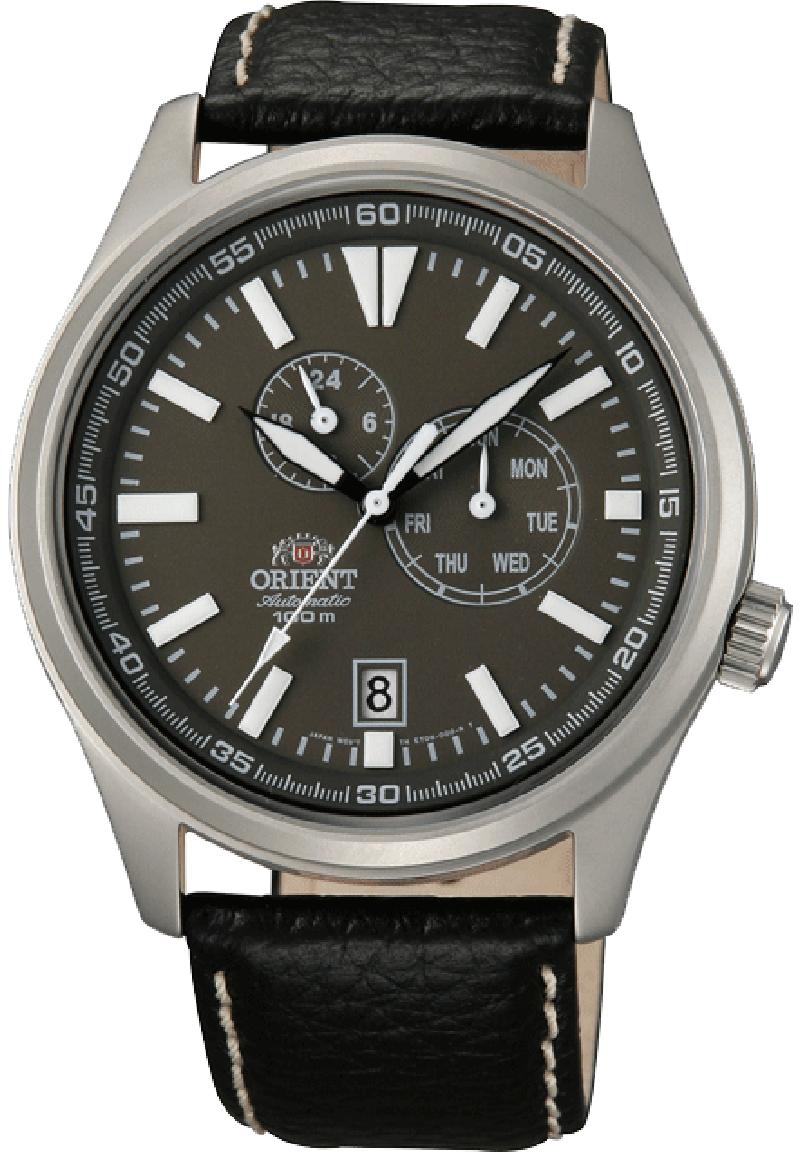 Orient ET0N002K / FET0N002K0 - мужские наручные часыORIENT<br><br><br>Бренд: ORIENT<br>Модель: ORIENT ET0N002K<br>Артикул: ET0N002K<br>Вариант артикула: FET0N002K0<br>Коллекция: None<br>Подколлекция: None<br>Страна: Япония<br>Пол: мужские<br>Тип механизма: механические<br>Механизм: (ET)46B<br>Количество камней: 21<br>Автоподзавод: есть<br>Источник энергии: пружинный механизм<br>Срок службы элемента питания: None<br>Дисплей: стрелки<br>Цифры: отсутствуют<br>Водозащита: WR 100<br>Противоударные: None<br>Материал корпуса: нерж. сталь<br>Материал браслета: кожа<br>Материал безеля: None<br>Стекло: минеральное<br>Антибликовое покрытие: None<br>Цвет корпуса: None<br>Цвет браслета: None<br>Цвет циферблата: None<br>Цвет безеля: None<br>Размеры: 42.1x11.9 мм<br>Диаметр: None<br>Диаметр корпуса: None<br>Толщина: None<br>Ширина ремешка: None<br>Вес: 70 г<br>Спорт-функции: None<br>Подсветка: стрелок<br>Вставка: None<br>Отображение даты: число, день недели<br>Хронограф: None<br>Таймер: None<br>Термометр: None<br>Хронометр: None<br>GPS: None<br>Радиосинхронизация: None<br>Барометр: None<br>Скелетон: None<br>Дополнительная информация: запас хода 40 часов<br>Дополнительные функции: None