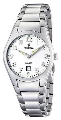 Festina F16503.2 - женские наручные часы из коллекции ClassicFestina<br><br><br>Бренд: Festina<br>Модель: Festina F16503/2<br>Артикул: F16503.2<br>Вариант артикула: None<br>Коллекция: Classic<br>Подколлекция: None<br>Страна: Испания<br>Пол: женские<br>Тип механизма: кварцевые<br>Механизм: None<br>Количество камней: None<br>Автоподзавод: None<br>Источник энергии: от батарейки<br>Срок службы элемента питания: None<br>Дисплей: стрелки<br>Цифры: арабские<br>Водозащита: WR 50<br>Противоударные: None<br>Материал корпуса: нерж. сталь<br>Материал браслета: нерж. сталь<br>Материал безеля: None<br>Стекло: минеральное<br>Антибликовое покрытие: None<br>Цвет корпуса: None<br>Цвет браслета: None<br>Цвет циферблата: None<br>Цвет безеля: None<br>Размеры: 30.2x6.7 мм<br>Диаметр: None<br>Диаметр корпуса: None<br>Толщина: None<br>Ширина ремешка: None<br>Вес: None<br>Спорт-функции: None<br>Подсветка: стрелок<br>Вставка: None<br>Отображение даты: число<br>Хронограф: None<br>Таймер: None<br>Термометр: None<br>Хронометр: None<br>GPS: None<br>Радиосинхронизация: None<br>Барометр: None<br>Скелетон: None<br>Дополнительная информация: None<br>Дополнительные функции: None
