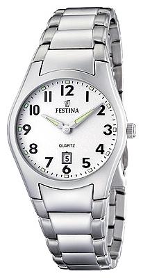 Festina F16503.1 - женские наручные часы из коллекции ClassicFestina<br><br><br>Бренд: Festina<br>Модель: Festina F16503/1<br>Артикул: F16503.1<br>Вариант артикула: None<br>Коллекция: Classic<br>Подколлекция: None<br>Страна: Испания<br>Пол: женские<br>Тип механизма: кварцевые<br>Механизм: None<br>Количество камней: None<br>Автоподзавод: None<br>Источник энергии: от батарейки<br>Срок службы элемента питания: None<br>Дисплей: стрелки<br>Цифры: арабские<br>Водозащита: WR 50<br>Противоударные: None<br>Материал корпуса: нерж. сталь<br>Материал браслета: нерж. сталь<br>Материал безеля: None<br>Стекло: минеральное<br>Антибликовое покрытие: None<br>Цвет корпуса: None<br>Цвет браслета: None<br>Цвет циферблата: None<br>Цвет безеля: None<br>Размеры: 30.2x6.7 мм<br>Диаметр: None<br>Диаметр корпуса: None<br>Толщина: None<br>Ширина ремешка: None<br>Вес: None<br>Спорт-функции: None<br>Подсветка: стрелок<br>Вставка: None<br>Отображение даты: число<br>Хронограф: None<br>Таймер: None<br>Термометр: None<br>Хронометр: None<br>GPS: None<br>Радиосинхронизация: None<br>Барометр: None<br>Скелетон: None<br>Дополнительная информация: None<br>Дополнительные функции: None