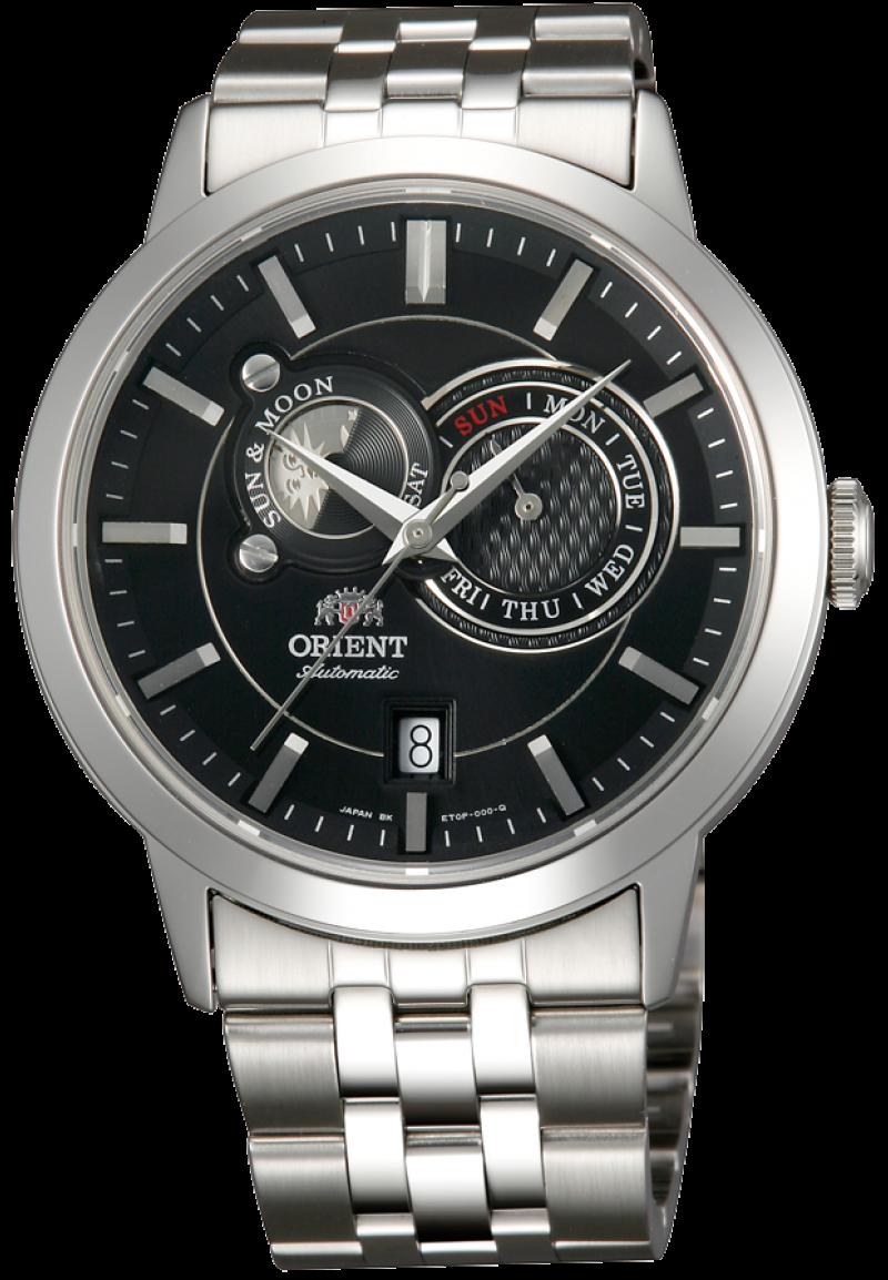 Orient ET0P002B / FET0P002B0 - мужские наручные часыORIENT<br><br><br>Бренд: ORIENT<br>Модель: ORIENT ET0P002B<br>Артикул: ET0P002B<br>Вариант артикула: FET0P002B0<br>Коллекция: None<br>Подколлекция: None<br>Страна: Япония<br>Пол: мужские<br>Тип механизма: механические<br>Механизм: (ET)46B46<br>Количество камней: 21<br>Автоподзавод: есть<br>Источник энергии: пружинный механизм<br>Срок службы элемента питания: None<br>Дисплей: стрелки<br>Цифры: отсутствуют<br>Водозащита: None<br>Противоударные: None<br>Материал корпуса: нерж. сталь<br>Материал браслета: нерж. сталь<br>Материал безеля: None<br>Стекло: сапфировое<br>Антибликовое покрытие: None<br>Цвет корпуса: None<br>Цвет браслета: None<br>Цвет циферблата: None<br>Цвет безеля: None<br>Размеры: 41.5x13.6 мм<br>Диаметр: None<br>Диаметр корпуса: None<br>Толщина: None<br>Ширина ремешка: None<br>Вес: 160 г<br>Спорт-функции: None<br>Подсветка: None<br>Вставка: None<br>Отображение даты: число, день недели<br>Хронограф: None<br>Таймер: None<br>Термометр: None<br>Хронометр: None<br>GPS: None<br>Радиосинхронизация: None<br>Барометр: None<br>Скелетон: None<br>Дополнительная информация: индикатор день/ночь<br>Дополнительные функции: None