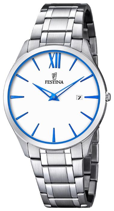 Festina F6832.2 - мужские наручные часы из коллекции ClassicFestina<br><br><br>Бренд: Festina<br>Модель: Festina F6832/2<br>Артикул: F6832.2<br>Вариант артикула: None<br>Коллекция: Classic<br>Подколлекция: None<br>Страна: Испания<br>Пол: мужские<br>Тип механизма: кварцевые<br>Механизм: M9U15<br>Количество камней: None<br>Автоподзавод: None<br>Источник энергии: от батарейки<br>Срок службы элемента питания: None<br>Дисплей: стрелки<br>Цифры: римские<br>Водозащита: WR 30<br>Противоударные: None<br>Материал корпуса: нерж. сталь<br>Материал браслета: нерж. сталь<br>Материал безеля: None<br>Стекло: минеральное<br>Антибликовое покрытие: None<br>Цвет корпуса: None<br>Цвет браслета: None<br>Цвет циферблата: None<br>Цвет безеля: None<br>Размеры: 40 мм<br>Диаметр: None<br>Диаметр корпуса: None<br>Толщина: None<br>Ширина ремешка: None<br>Вес: None<br>Спорт-функции: None<br>Подсветка: None<br>Вставка: None<br>Отображение даты: число<br>Хронограф: None<br>Таймер: None<br>Термометр: None<br>Хронометр: None<br>GPS: None<br>Радиосинхронизация: None<br>Барометр: None<br>Скелетон: None<br>Дополнительная информация: None<br>Дополнительные функции: None