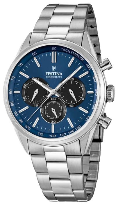 Festina F16820.3 - мужские наручные часы из коллекции ChronographFestina<br><br><br>Бренд: Festina<br>Модель: Festina F16820/3<br>Артикул: F16820.3<br>Вариант артикула: None<br>Коллекция: Chronograph<br>Подколлекция: None<br>Страна: Испания<br>Пол: мужские<br>Тип механизма: кварцевые<br>Механизм: None<br>Количество камней: None<br>Автоподзавод: None<br>Источник энергии: от батарейки<br>Срок службы элемента питания: None<br>Дисплей: стрелки<br>Цифры: отсутствуют<br>Водозащита: WR 50<br>Противоударные: None<br>Материал корпуса: нерж. сталь<br>Материал браслета: нерж. сталь<br>Материал безеля: None<br>Стекло: минеральное<br>Антибликовое покрытие: None<br>Цвет корпуса: None<br>Цвет браслета: None<br>Цвет циферблата: None<br>Цвет безеля: None<br>Размеры: 44x11 мм<br>Диаметр: None<br>Диаметр корпуса: None<br>Толщина: None<br>Ширина ремешка: None<br>Вес: None<br>Спорт-функции: секундомер<br>Подсветка: стрелок<br>Вставка: None<br>Отображение даты: None<br>Хронограф: есть<br>Таймер: None<br>Термометр: None<br>Хронометр: None<br>GPS: None<br>Радиосинхронизация: None<br>Барометр: None<br>Скелетон: None<br>Дополнительная информация: None<br>Дополнительные функции: None