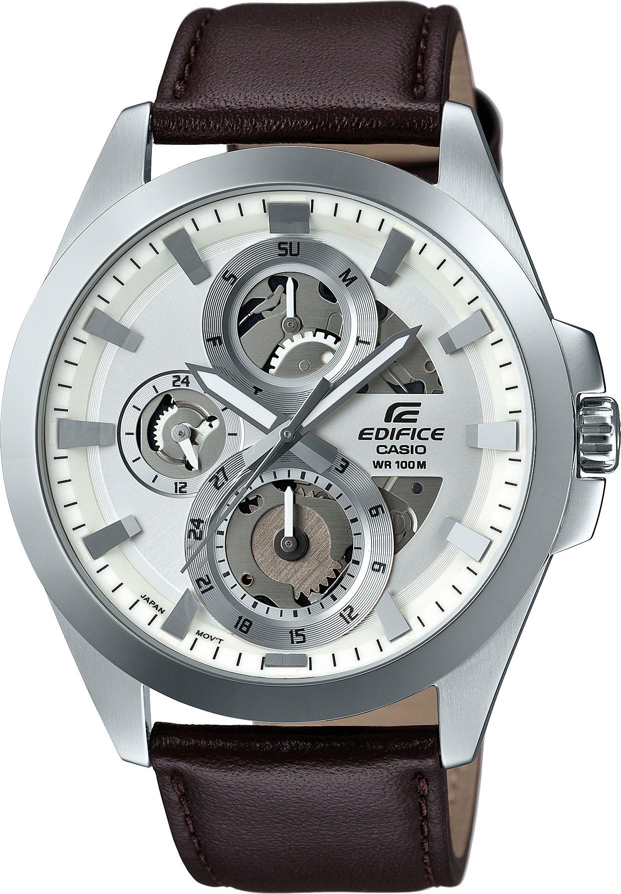 Casio Edifice ESK-300L-7A / ESK-300L-7AER - мужские наручные часыCasio<br><br><br>Бренд: Casio<br>Модель: Casio ESK-300L-7A<br>Артикул: ESK-300L-7A<br>Вариант артикула: ESK-300L-7AER<br>Коллекция: Edifice<br>Подколлекция: None<br>Страна: Япония<br>Пол: мужские<br>Тип механизма: кварцевые<br>Механизм: None<br>Количество камней: None<br>Автоподзавод: None<br>Источник энергии: от батарейки<br>Срок службы элемента питания: 36 мес<br>Дисплей: стрелки<br>Цифры: отсутствуют<br>Водозащита: WR 100<br>Противоударные: None<br>Материал корпуса: нерж. сталь<br>Материал браслета: кожа<br>Материал безеля: None<br>Стекло: минеральное<br>Антибликовое покрытие: None<br>Цвет корпуса: None<br>Цвет браслета: None<br>Цвет циферблата: None<br>Цвет безеля: None<br>Размеры: 45.1x50.5x11 мм<br>Диаметр: None<br>Диаметр корпуса: None<br>Толщина: None<br>Ширина ремешка: None<br>Вес: 69 г<br>Спорт-функции: секундомер<br>Подсветка: стрелок<br>Вставка: None<br>Отображение даты: число, день недели<br>Хронограф: None<br>Таймер: None<br>Термометр: None<br>Хронометр: None<br>GPS: None<br>Радиосинхронизация: None<br>Барометр: None<br>Скелетон: да<br>Дополнительная информация: элемент питания SR927SW<br>Дополнительные функции: None