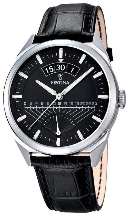 Festina F16873.4 - мужские наручные часы из коллекции RetrogradeFestina<br><br><br>Бренд: Festina<br>Модель: Festina F16873/4<br>Артикул: F16873.4<br>Вариант артикула: None<br>Коллекция: Retrograde<br>Подколлекция: None<br>Страна: Испания<br>Пол: мужские<br>Тип механизма: кварцевые<br>Механизм: MGP00<br>Количество камней: None<br>Автоподзавод: None<br>Источник энергии: от батарейки<br>Срок службы элемента питания: None<br>Дисплей: стрелки<br>Цифры: отсутствуют<br>Водозащита: WR 50<br>Противоударные: None<br>Материал корпуса: нерж. сталь<br>Материал браслета: кожа<br>Материал безеля: None<br>Стекло: минеральное<br>Антибликовое покрытие: None<br>Цвет корпуса: None<br>Цвет браслета: None<br>Цвет циферблата: None<br>Цвет безеля: None<br>Размеры: 42 мм<br>Диаметр: None<br>Диаметр корпуса: None<br>Толщина: None<br>Ширина ремешка: None<br>Вес: None<br>Спорт-функции: None<br>Подсветка: стрелок<br>Вставка: None<br>Отображение даты: число<br>Хронограф: None<br>Таймер: None<br>Термометр: None<br>Хронометр: None<br>GPS: None<br>Радиосинхронизация: None<br>Барометр: None<br>Скелетон: None<br>Дополнительная информация: None<br>Дополнительные функции: None