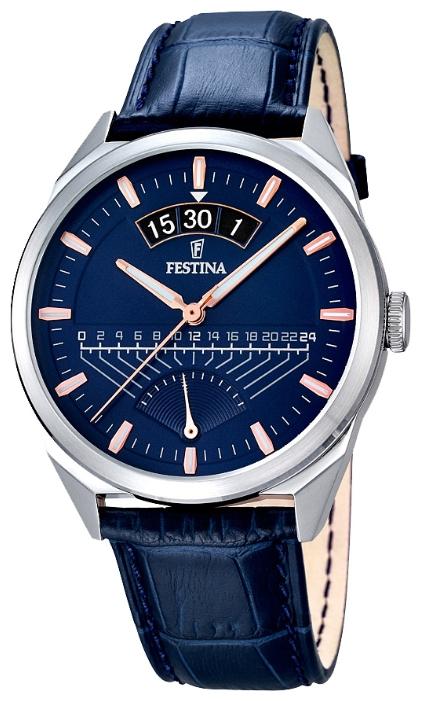 Festina F16873.3 - мужские наручные часы из коллекции RetrogradeFestina<br><br><br>Бренд: Festina<br>Модель: Festina F16873/3<br>Артикул: F16873.3<br>Вариант артикула: None<br>Коллекция: Retrograde<br>Подколлекция: None<br>Страна: Испания<br>Пол: мужские<br>Тип механизма: кварцевые<br>Механизм: MGP00<br>Количество камней: None<br>Автоподзавод: None<br>Источник энергии: от батарейки<br>Срок службы элемента питания: None<br>Дисплей: стрелки<br>Цифры: отсутствуют<br>Водозащита: WR 50<br>Противоударные: None<br>Материал корпуса: нерж. сталь<br>Материал браслета: кожа<br>Материал безеля: None<br>Стекло: минеральное<br>Антибликовое покрытие: None<br>Цвет корпуса: None<br>Цвет браслета: None<br>Цвет циферблата: None<br>Цвет безеля: None<br>Размеры: 42 мм<br>Диаметр: None<br>Диаметр корпуса: None<br>Толщина: None<br>Ширина ремешка: None<br>Вес: None<br>Спорт-функции: None<br>Подсветка: стрелок<br>Вставка: None<br>Отображение даты: число<br>Хронограф: None<br>Таймер: None<br>Термометр: None<br>Хронометр: None<br>GPS: None<br>Радиосинхронизация: None<br>Барометр: None<br>Скелетон: None<br>Дополнительная информация: None<br>Дополнительные функции: None